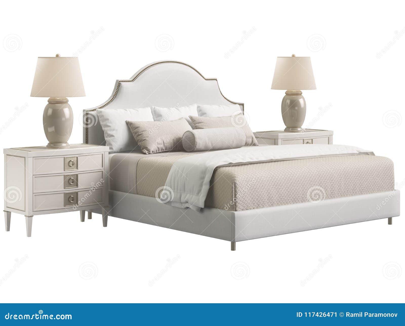 Muebles Clásicos Del Dormitorio En El Fondo Blanco Stock de ...