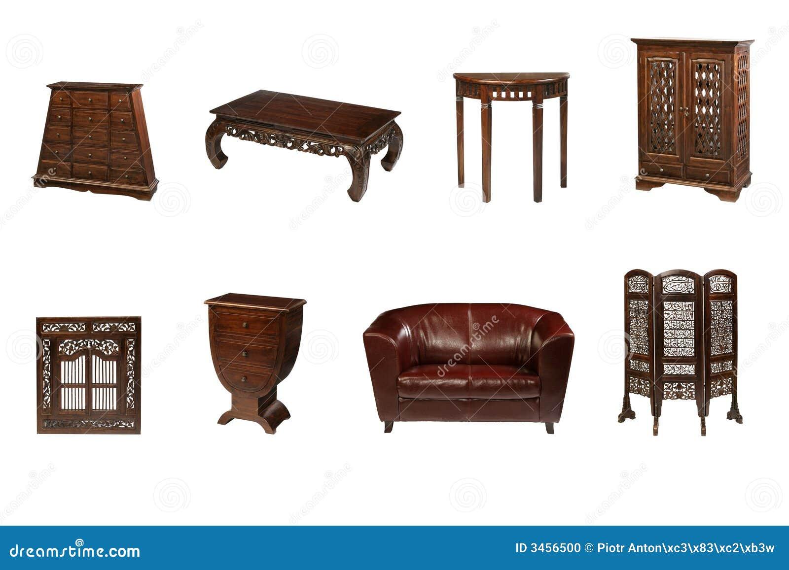 Muebles coloniales foto de archivo imagen de aislado for Muebles coloniales blanco