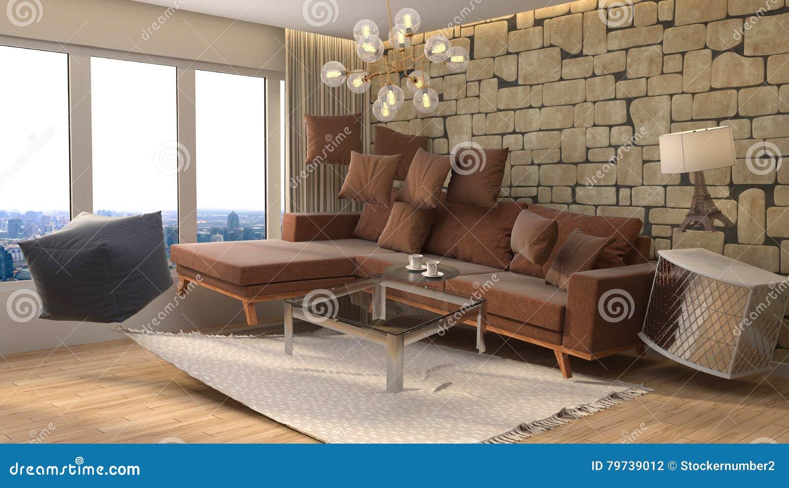 Muebles de la gravedad cero que asoman en sala de estar ilustración 3D