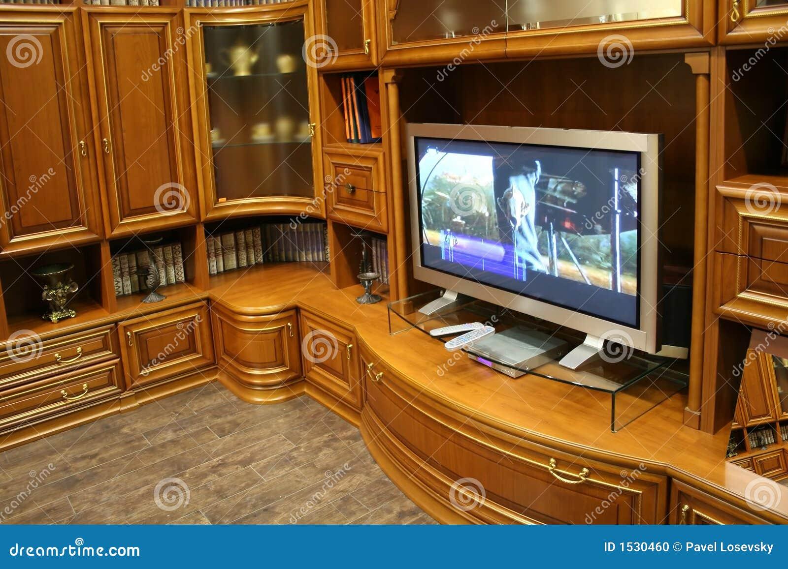 Muebles de la tv y de la pared foto de archivo imagen - Tv en la pared ...