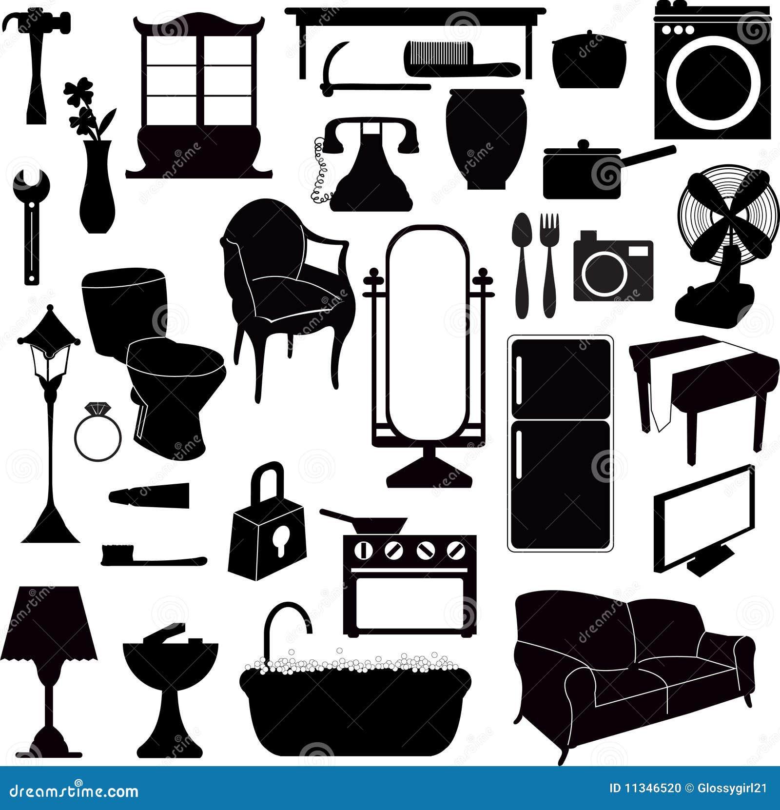 Muebles de las siluetas y otros objetos foto de archivo for Vintage muebles y objetos