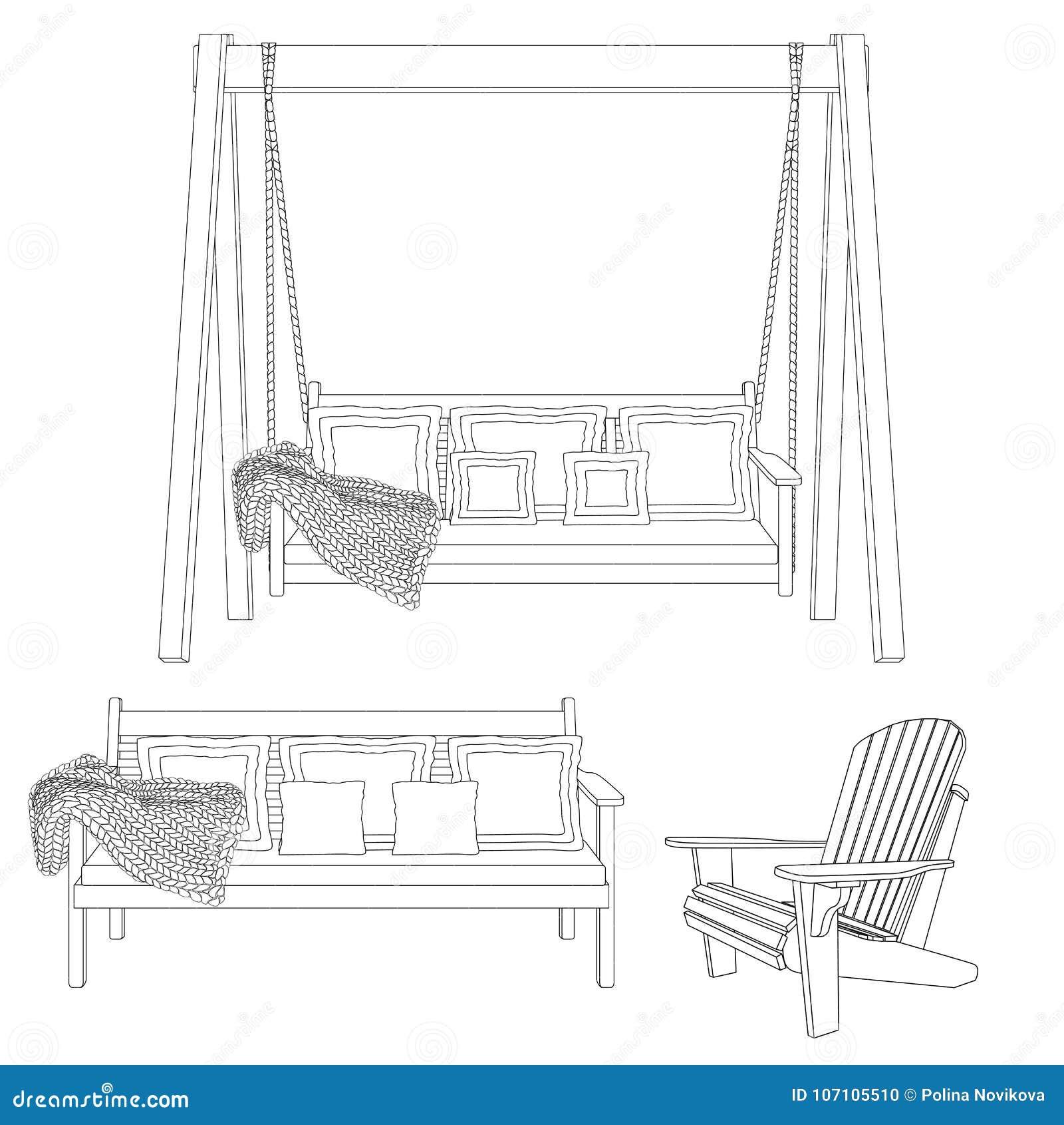 Muebles de madera clásicos al aire libre - silla del oscilación, del banco y del adirondack Ejemplo del esquema en el fondo blanc