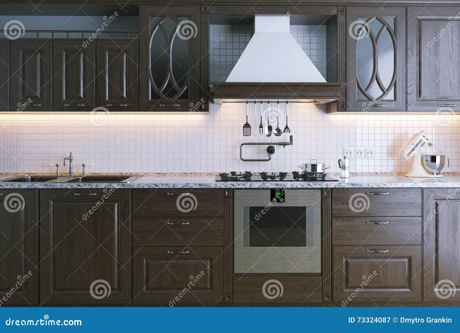 Muebles De Madera Clásicos De La Cocina Primer 3d Rinden Imagen de ...