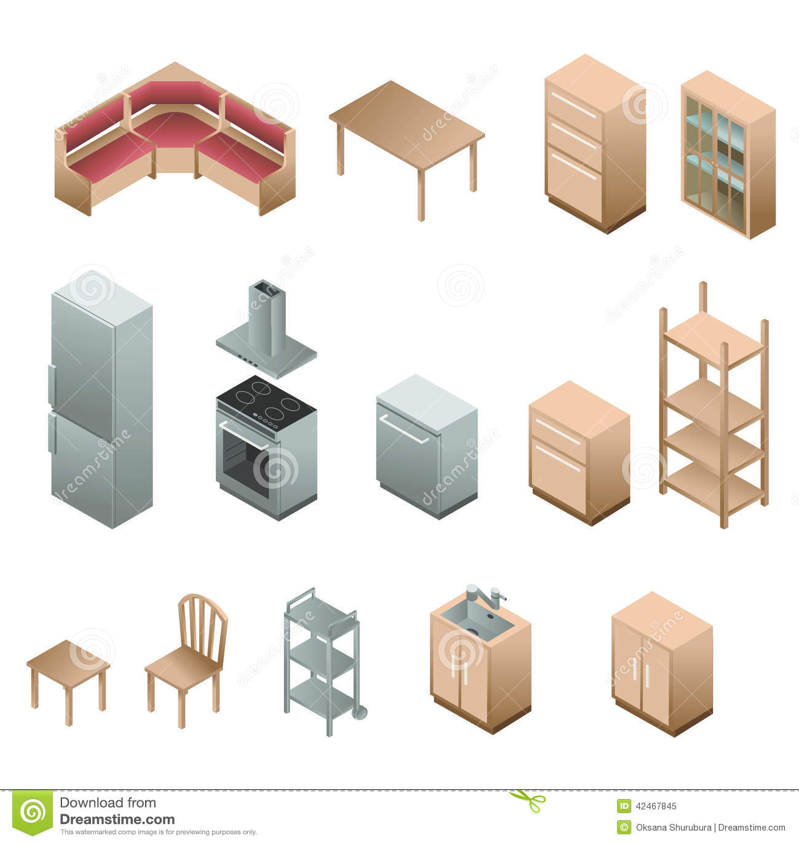 similares de ` Muebles de madera isométricos para la cocina