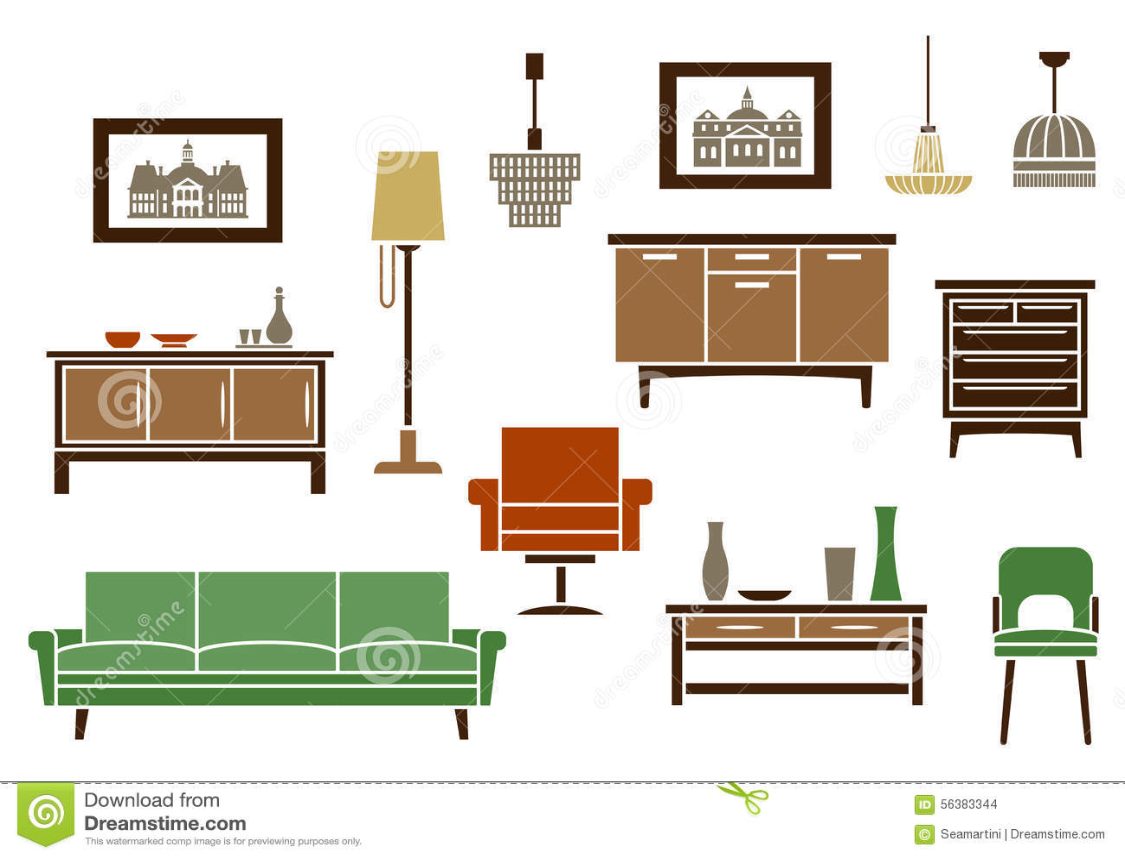 Muebles del hogar e iconos planos interiores ilustraci n - Hogar del mueble ingenio ...