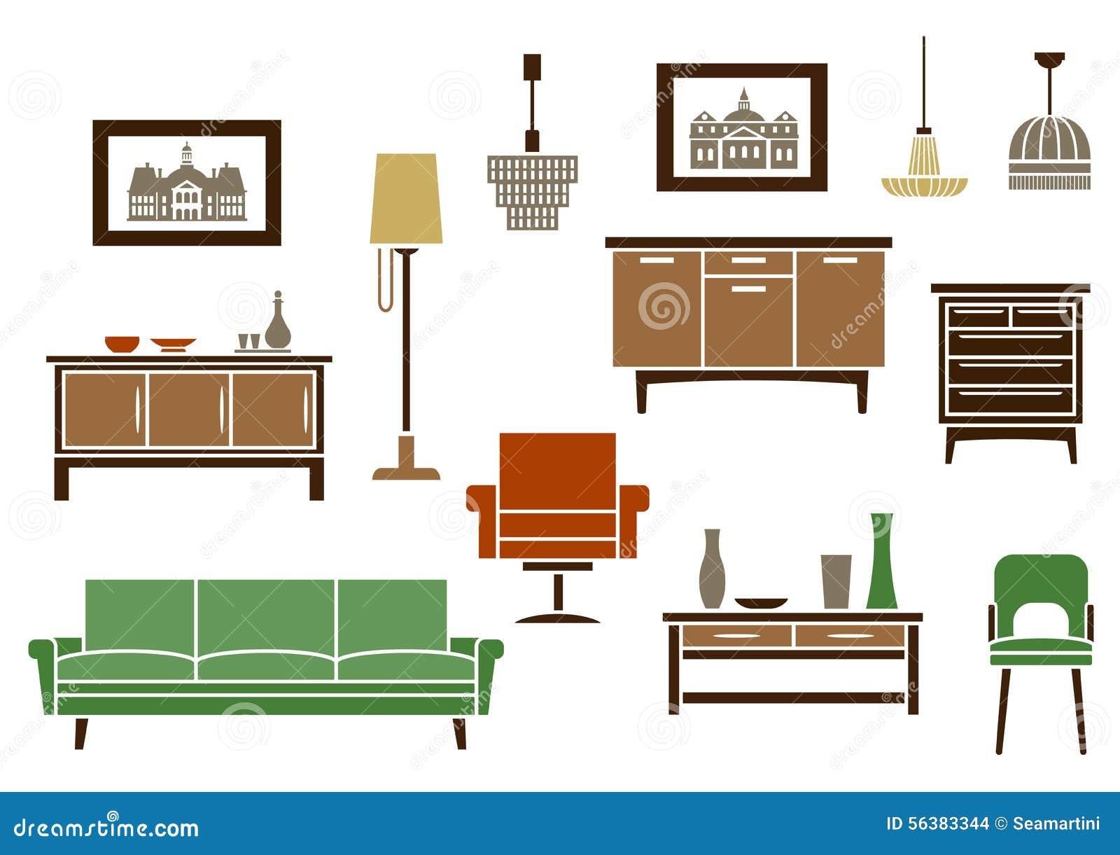 Muebles del hogar e iconos planos interiores ilustraci n for Muebles de hogar