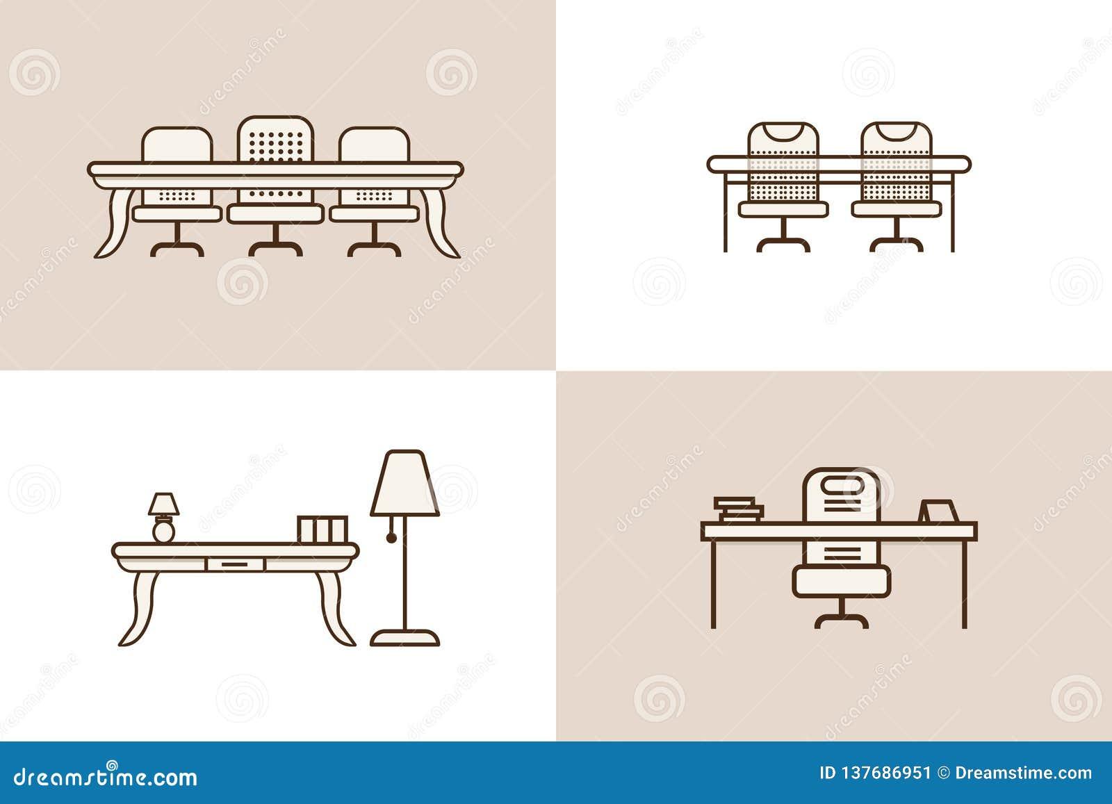 Muebles del icono de la tabla de la silla de la oficina