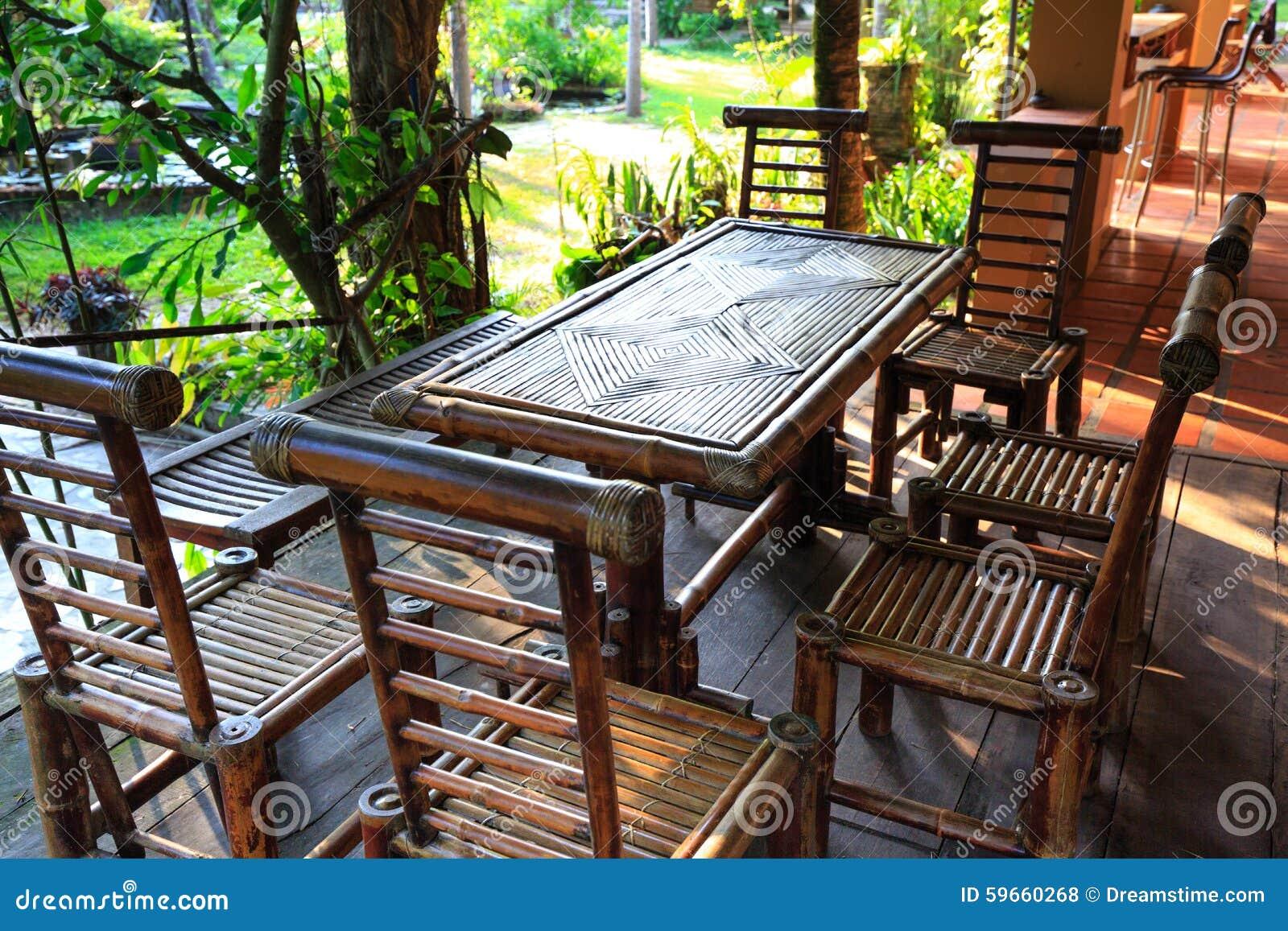 Muebles Del Jard N Hechos De Bamb Foto De Archivo Imagen De  # Muebles Debambu