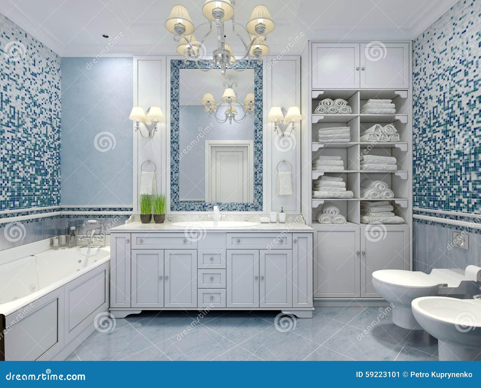 Muebles En Cuarto De Baño Azul Clásico Imagen de archivo - Imagen de ...