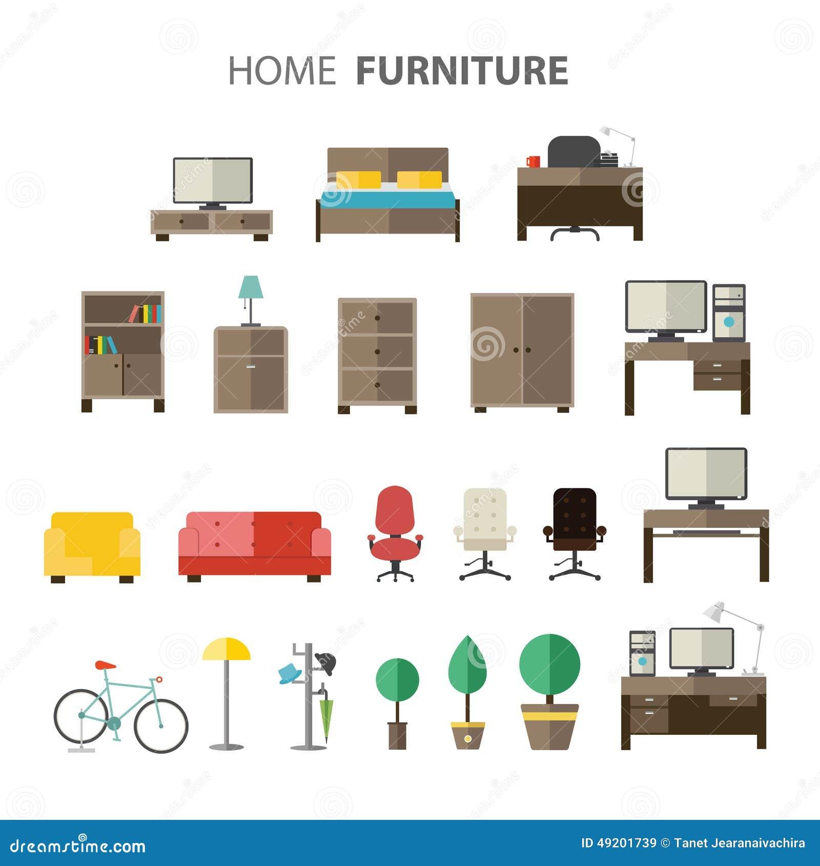 Muebles fijados para la casa ilustraci n del vector for Muebles de la casa