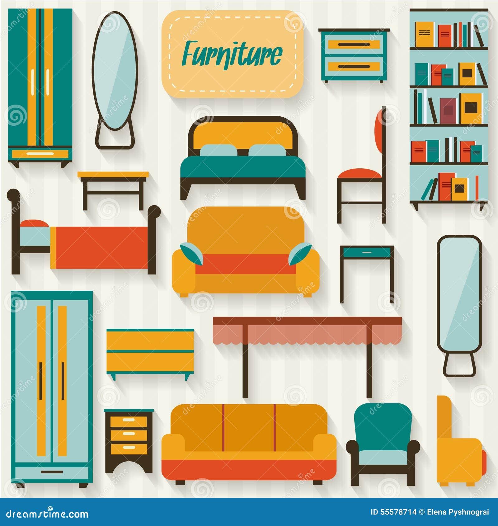 Muebles fijados para los cuartos de la casa ilustraci n for De casa muebles
