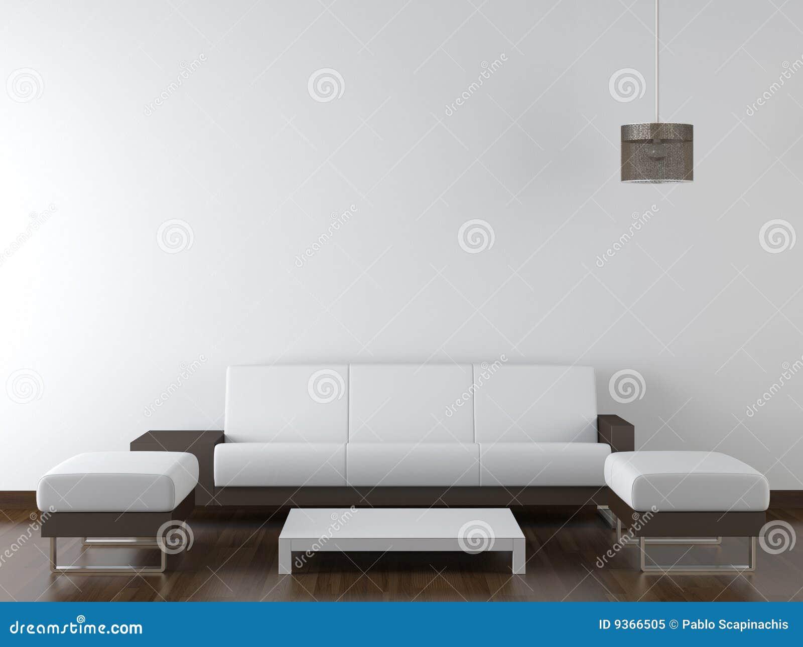 blancos y marrones modernos de la sala de estar contra la pared blanca