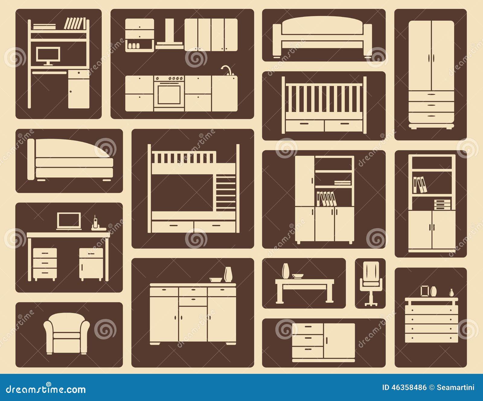 Muebles Planos E Iconos Interiores Ilustración del Vector  Imagen