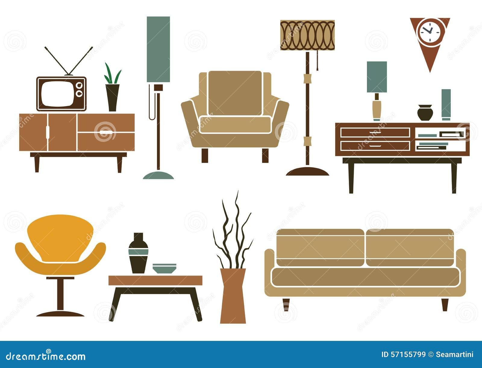 Muebles Planos Retros E Iconos Interiores Ilustración del Vector