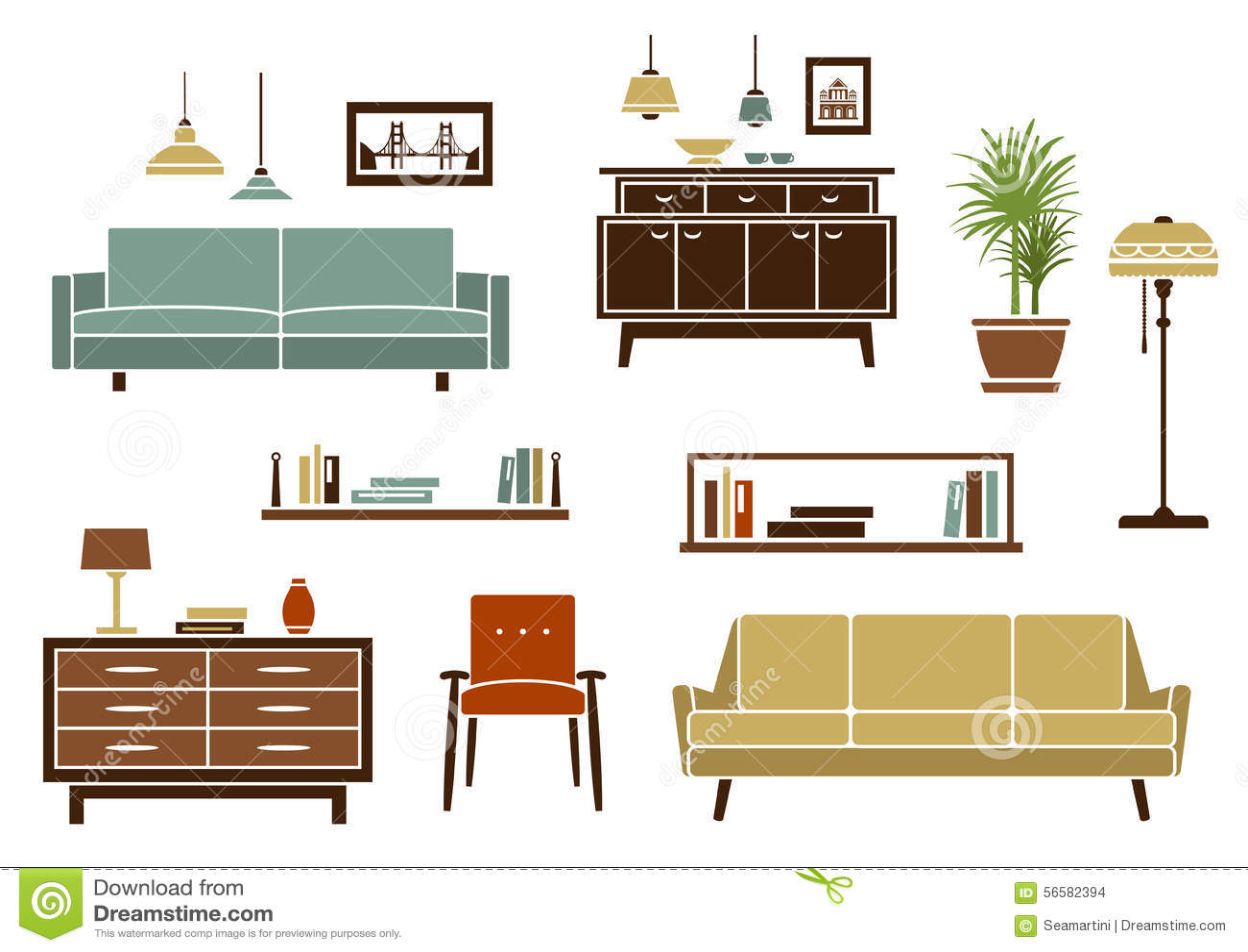 Muebles planos y accesorios interiores ilustraci n del for Planos de muebles de madera pdf