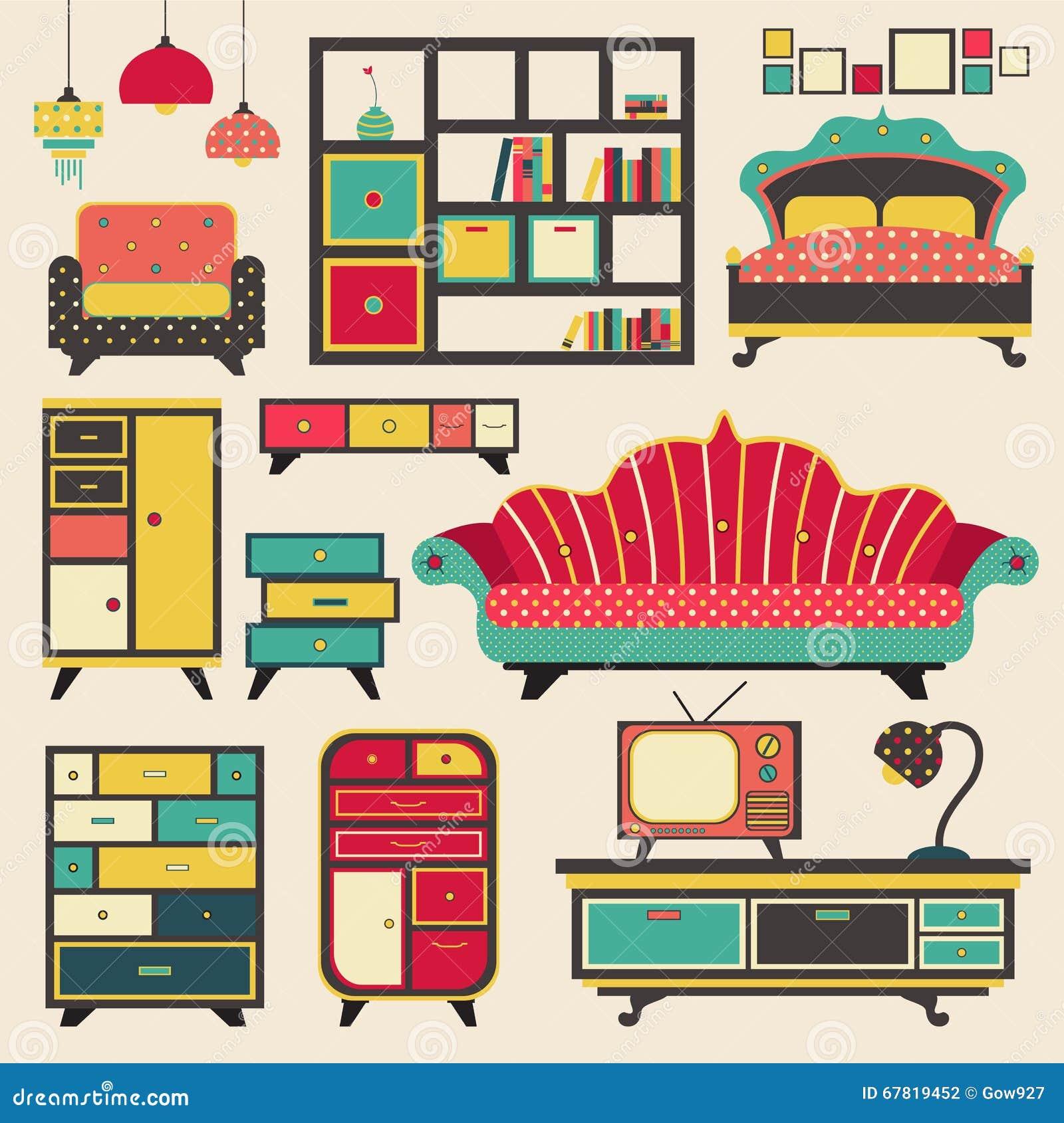 Muebles retros viejos del dispositivo de la casa y - La casa muebles ...