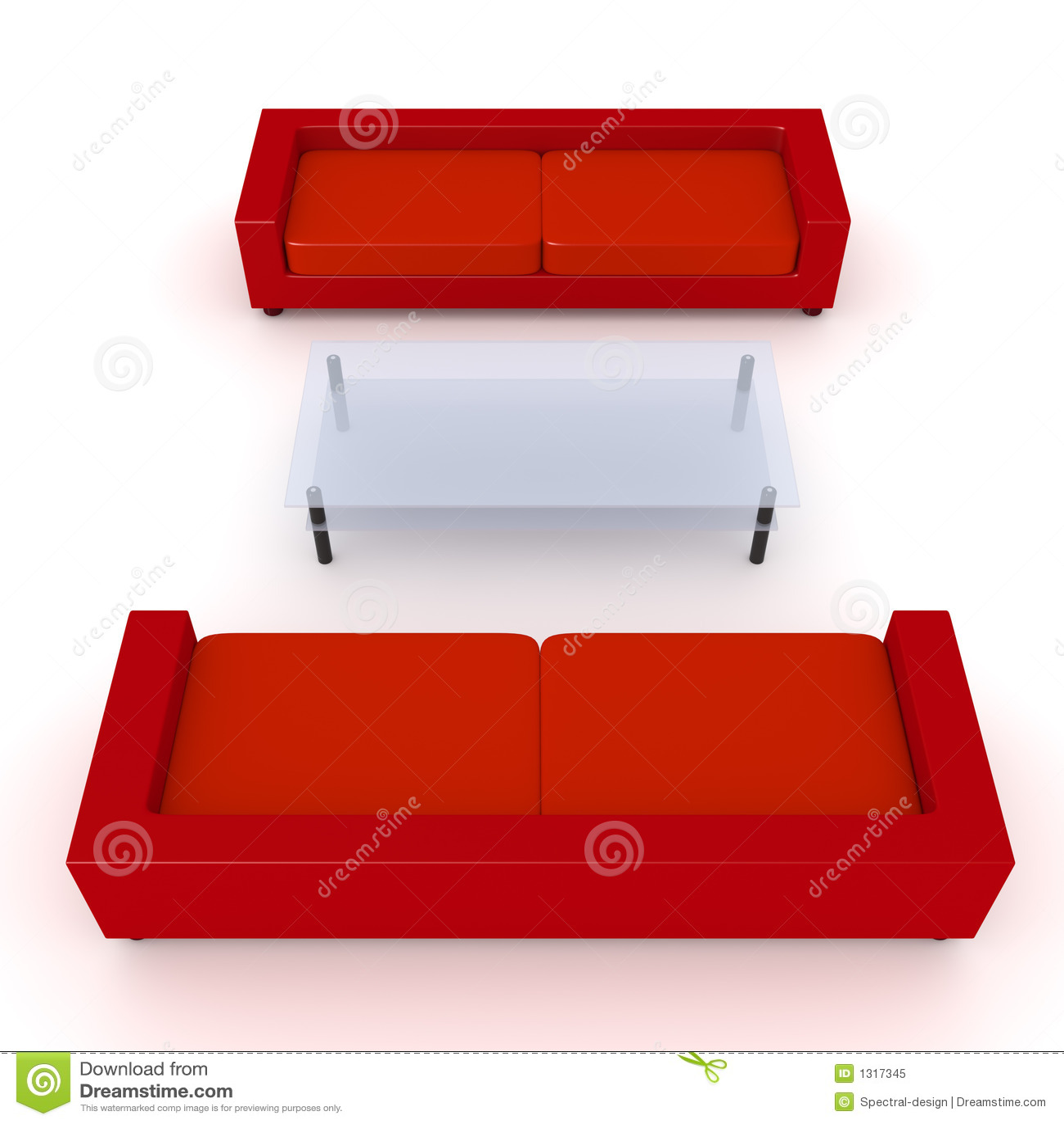 Muebles Rojos 3 De La Sala De Estar