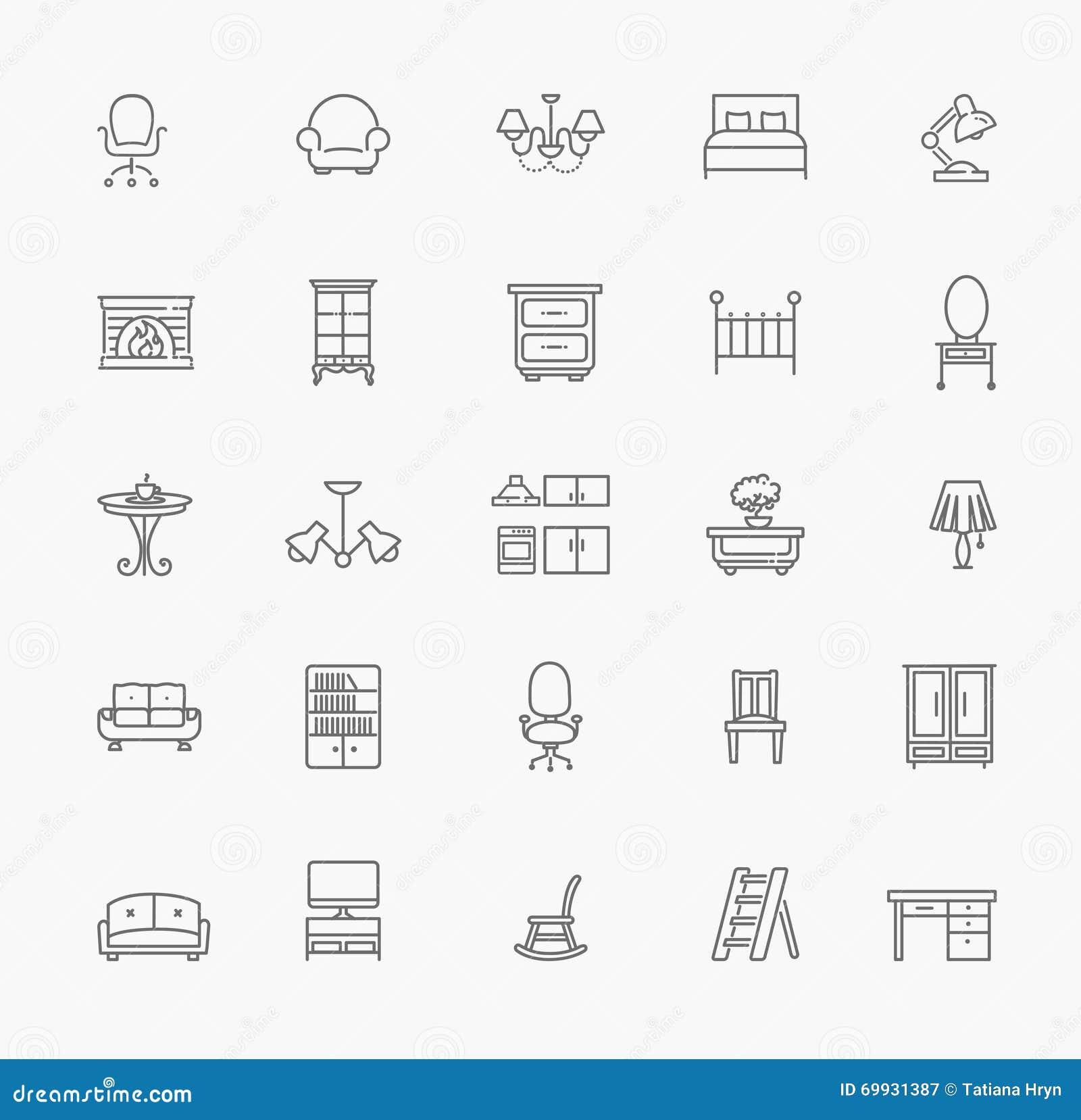 Muebles Y Sistema Casero Del Icono De La Decoraci N Ilustraci N  # Muebles Num Decoracion