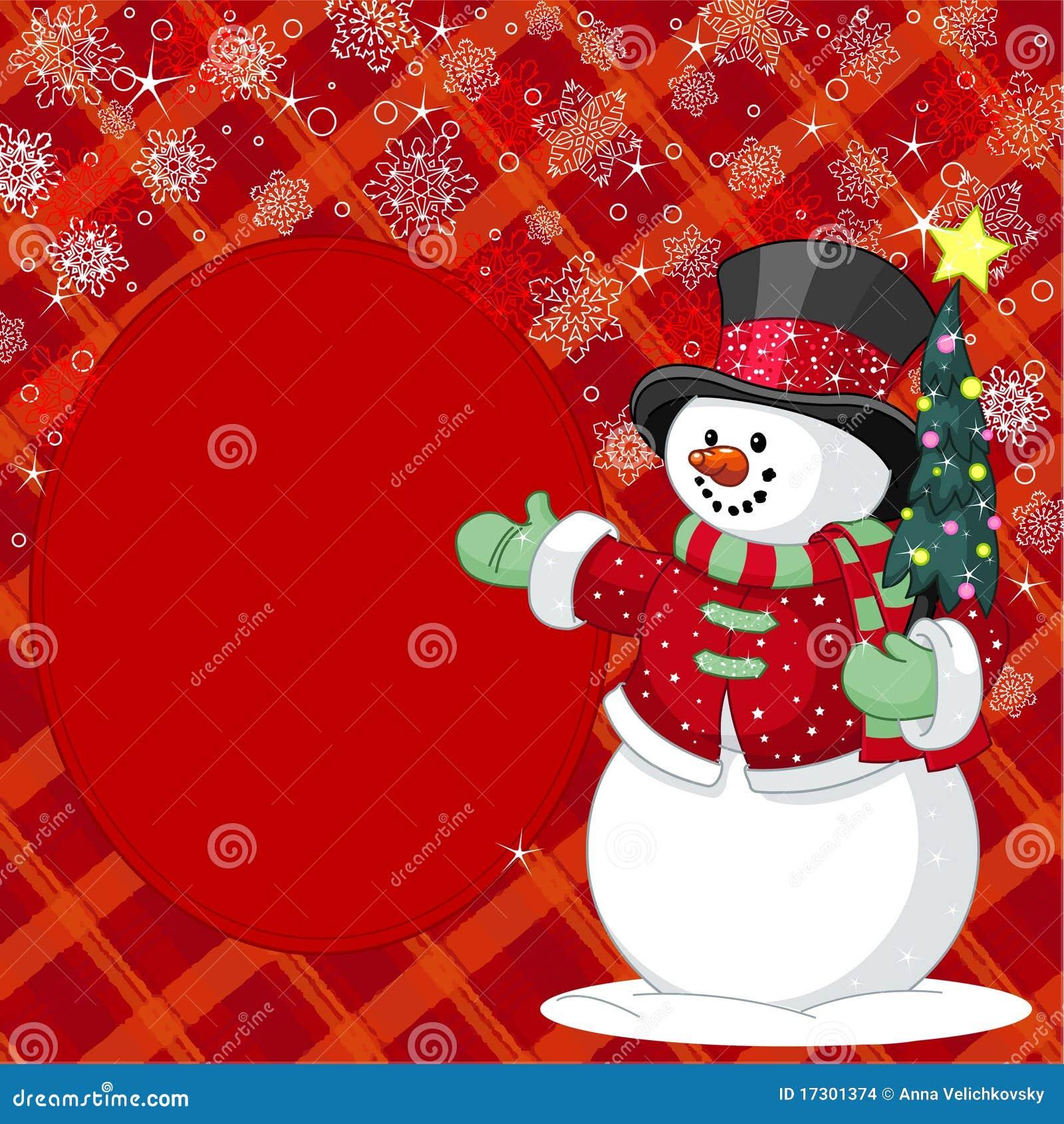 Mu eco de nieve con la tarjeta del lugar del rbol de - Arbol navidad nieve ...