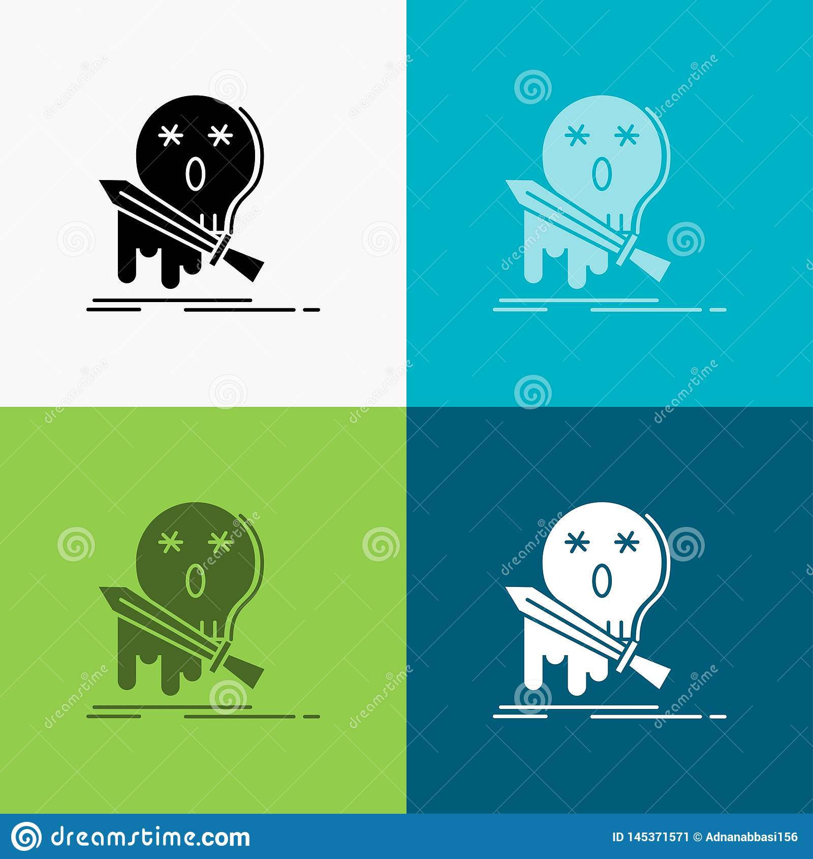 Muerte, frag, juego, matanza, icono de la espada sobre diverso fondo dise?o del estilo del glyph, dise?ado para el web y el app V