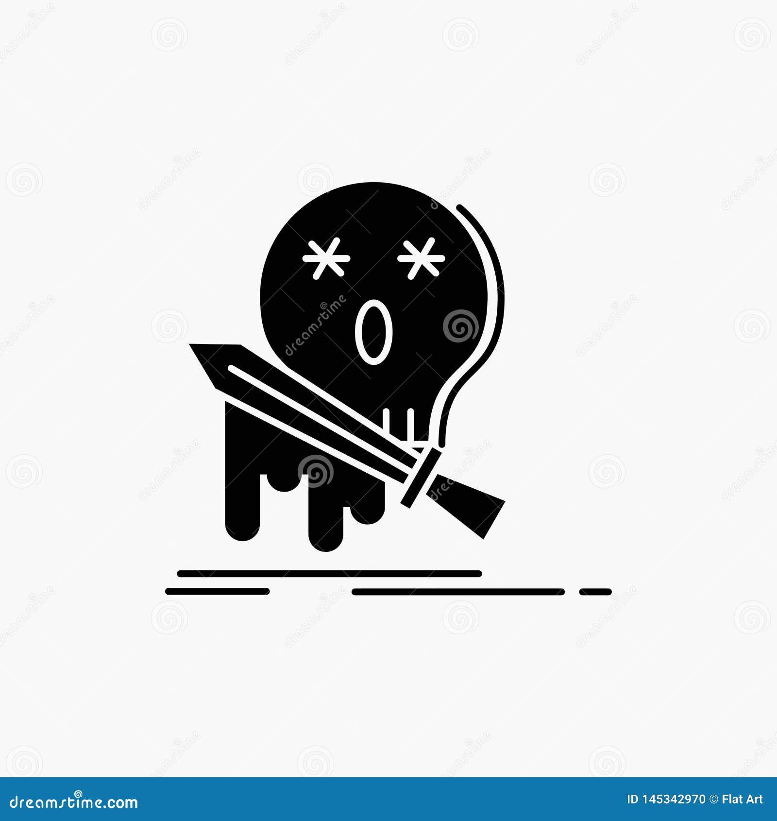 Muerte, frag, juego, matanza, icono del Glyph de la espada Ejemplo aislado vector