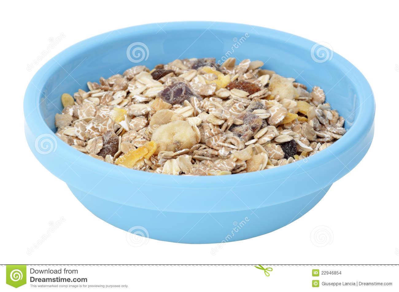 Muesli Cereal In Plastic Bowl Isolated On White Stock Images - Image ...