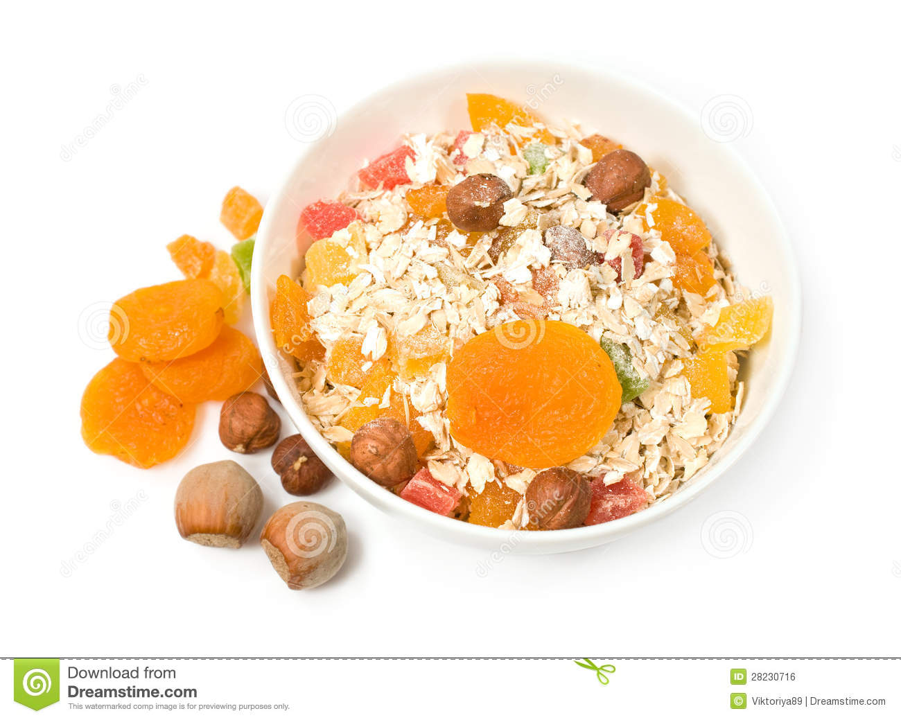 Muesli with dried fruit and nuts