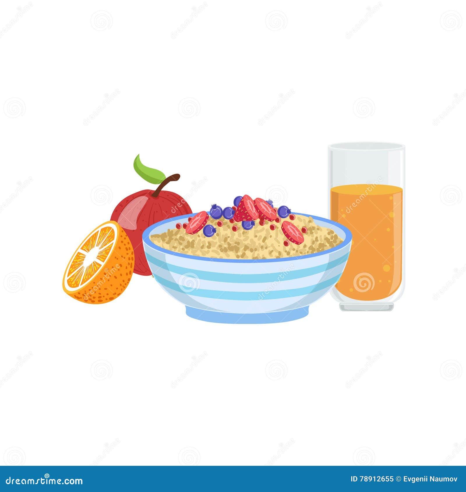 Muesli, fruto e laranja Juice Breakfast Food Drink Set