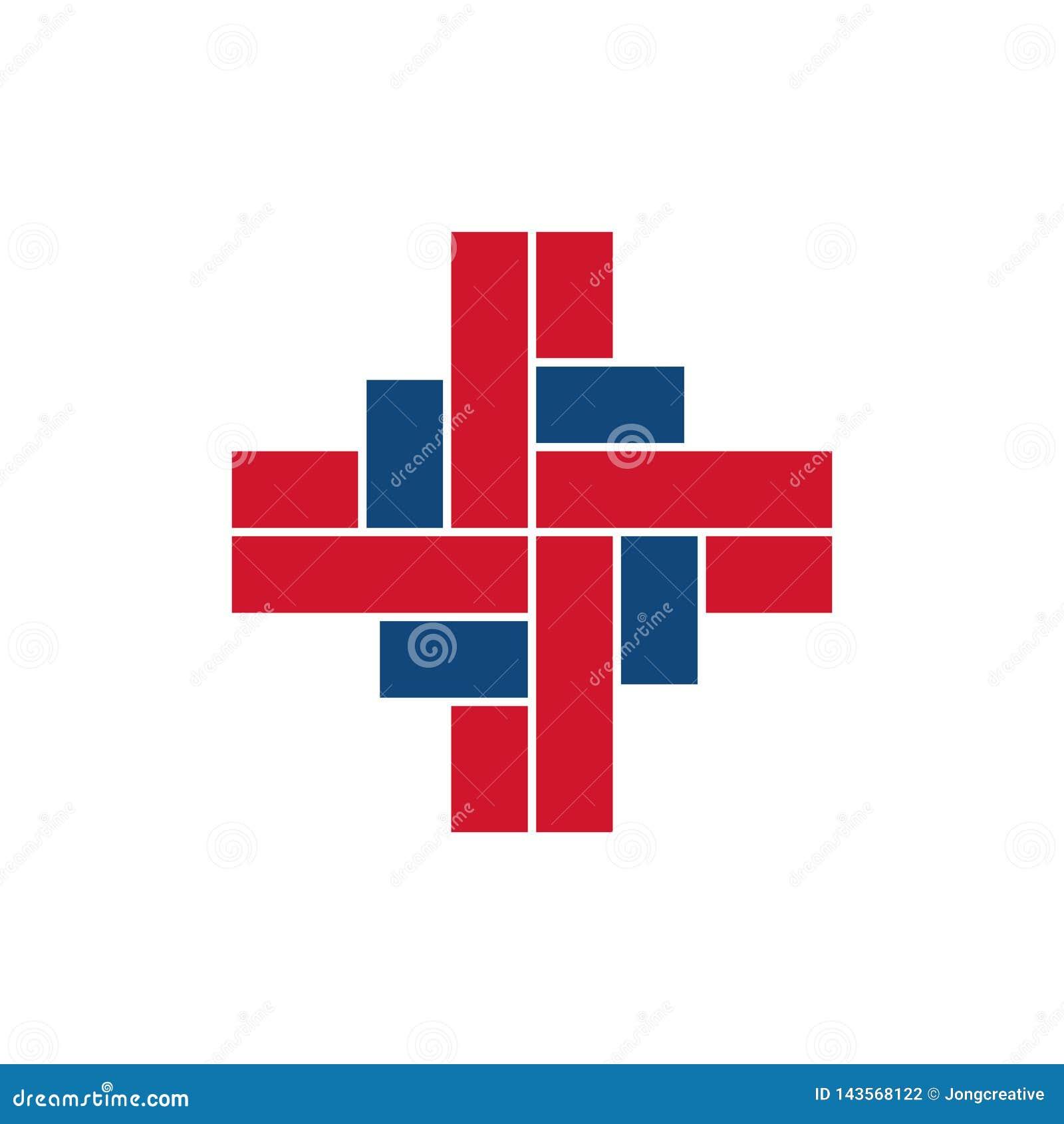 Muestra única del símbolo de la atención sanitaria médica de la intersección
