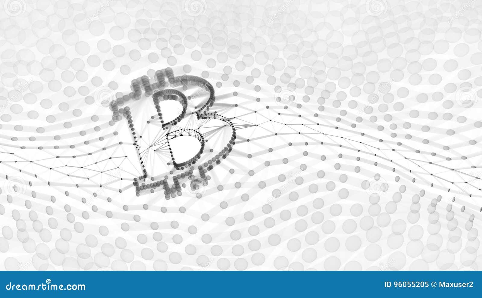 Muestra blanco y negro abstracta de Bitcoin construida como arsenal de transacciones en el ejemplo conceptual 3d de Blockchain