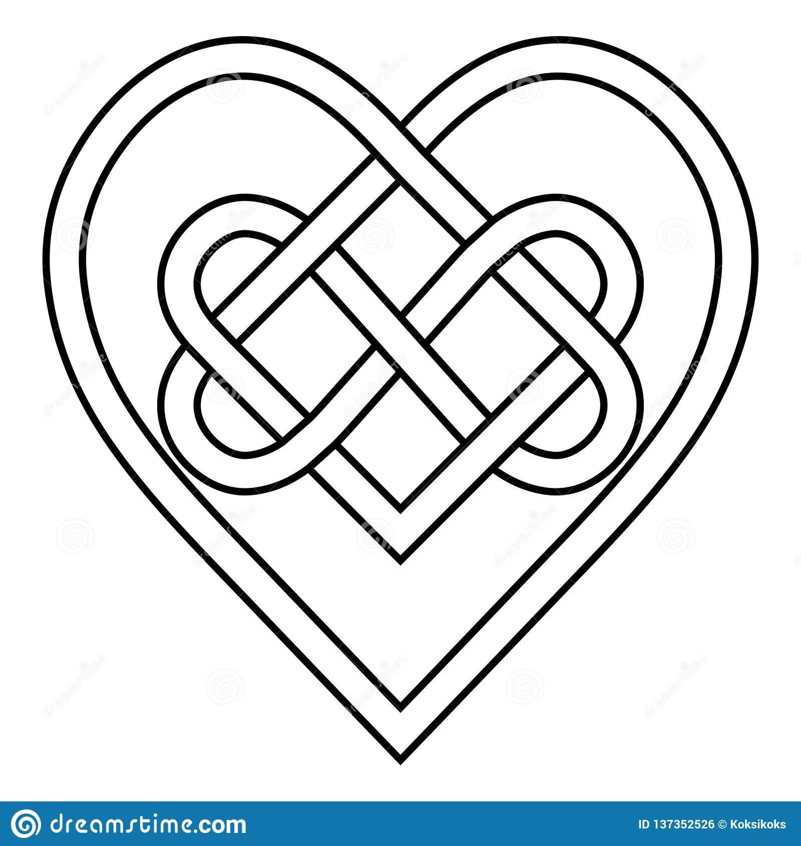 Muestra céltica del símbolo del vector del infinito de los corazones del límite de la runa del nudo del amor eterno, modelo del l