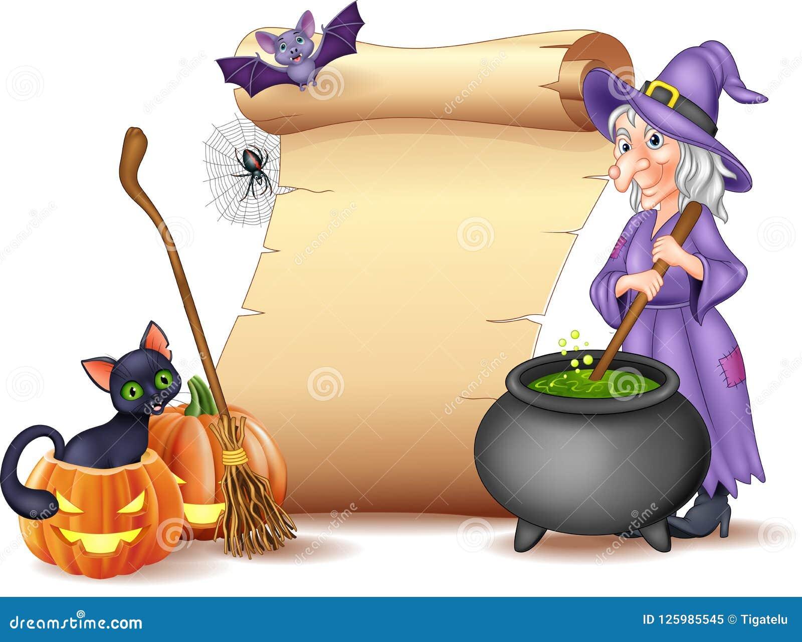 Muestra de Halloween con la bruja que revuelve la poción mágica