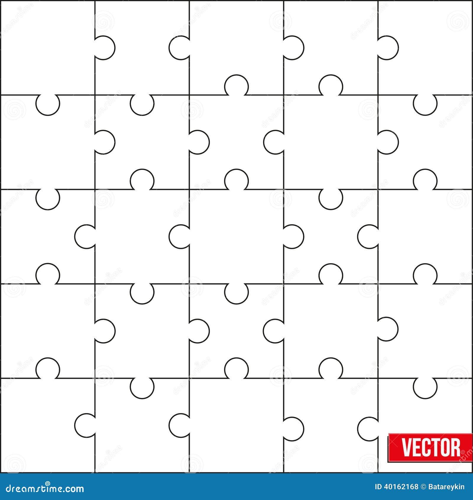 Muestra de instrucciones cuadradas de la plantilla o del corte del espacio en blanco del rompecabezas. Vector.