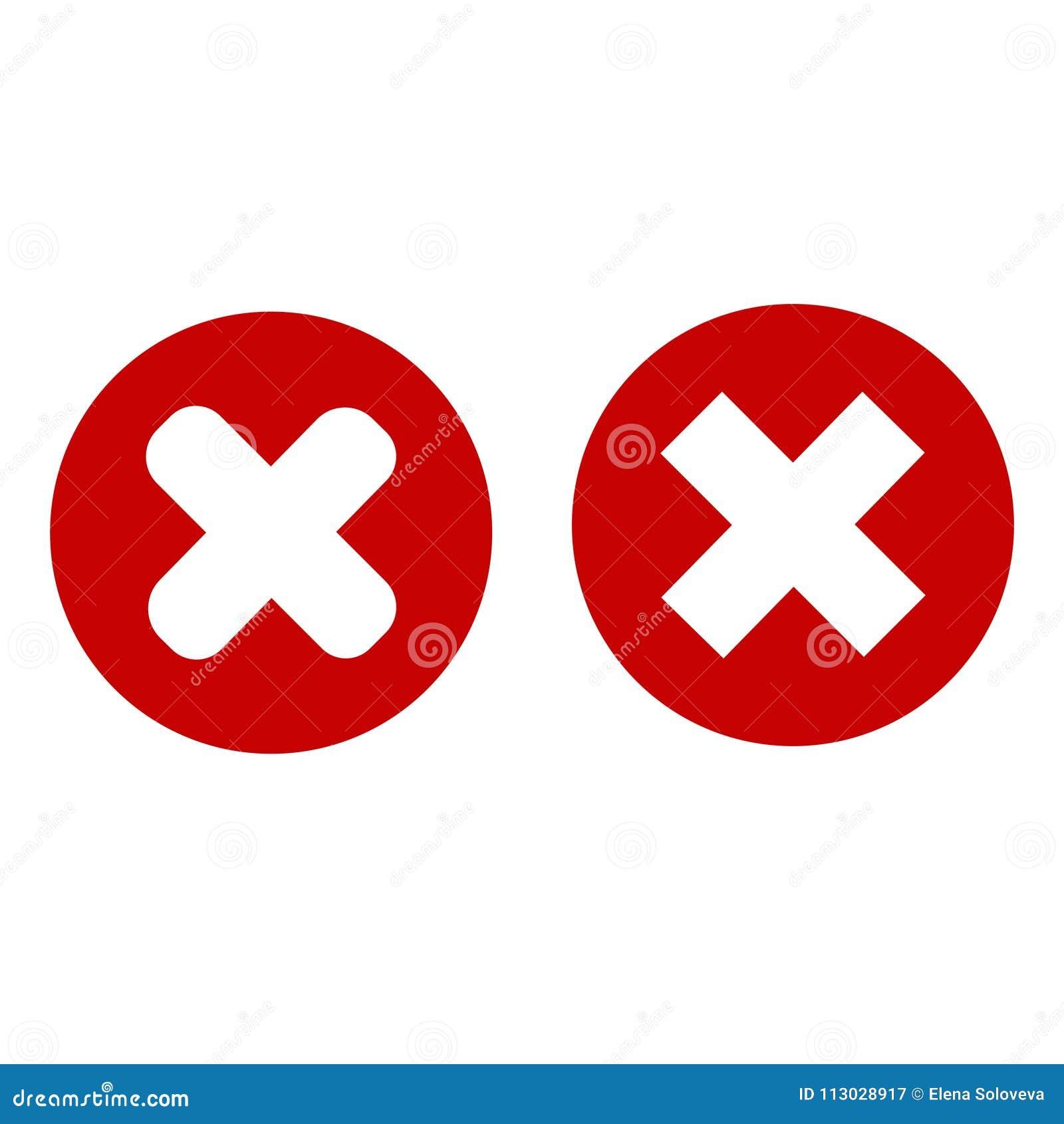 Muestra de la cancelación CÍRCULO ROJO X multiplique el icono moderno del diseño