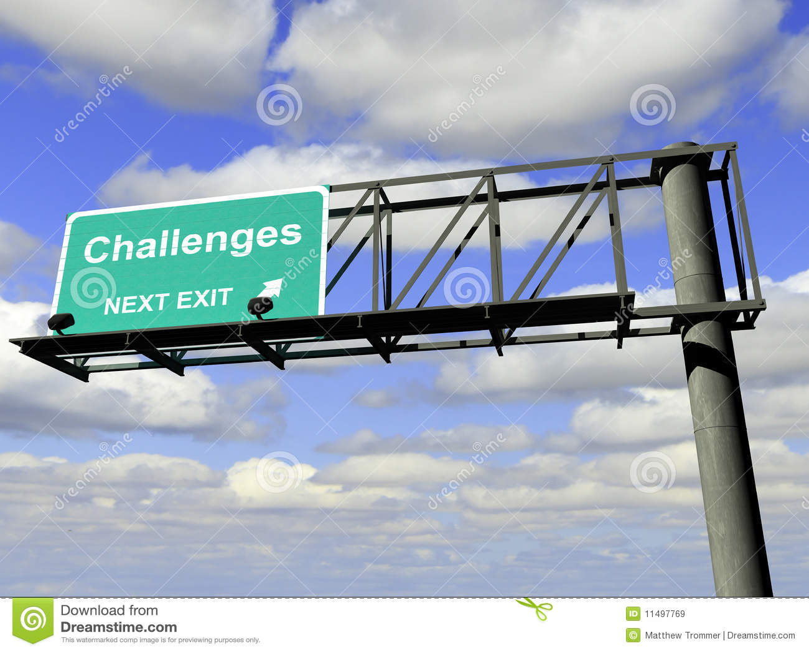 Muestra de la carretera de la salida de los desafíos