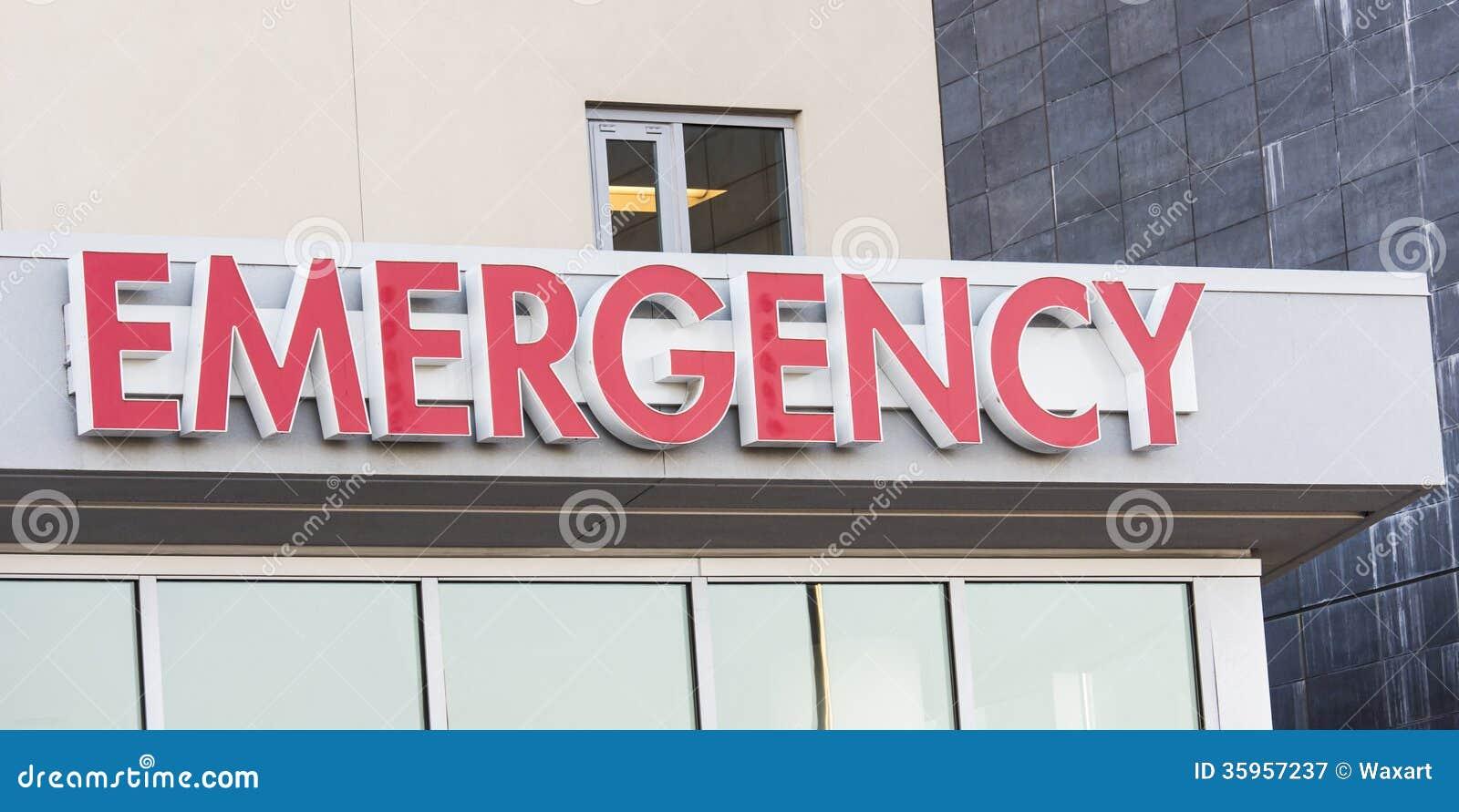 Muestra de la emergencia del hospital en la entrada del ER