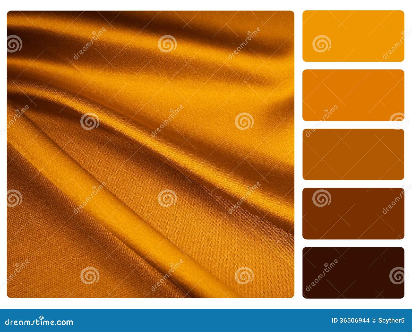 Muestra de la paleta de color del satén del oro