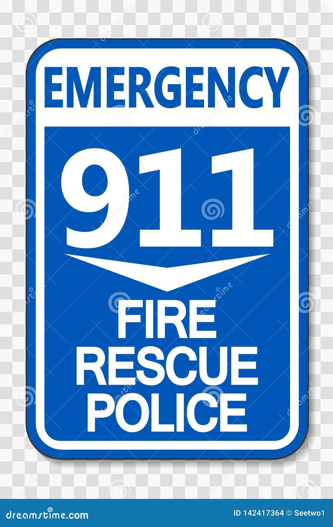 Muestra de la policía del rescate del fuego del símbolo 911 en fondo transparente