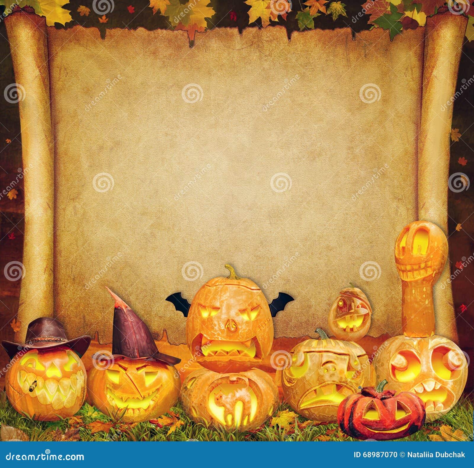 Muestra de la voluta del fondo de Halloween con la naranja tallada