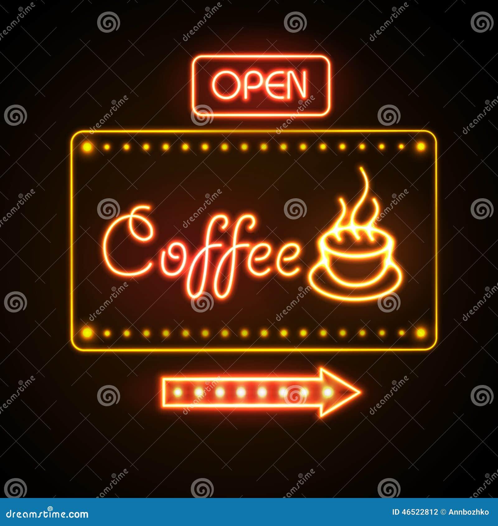 Muestra de neón Café