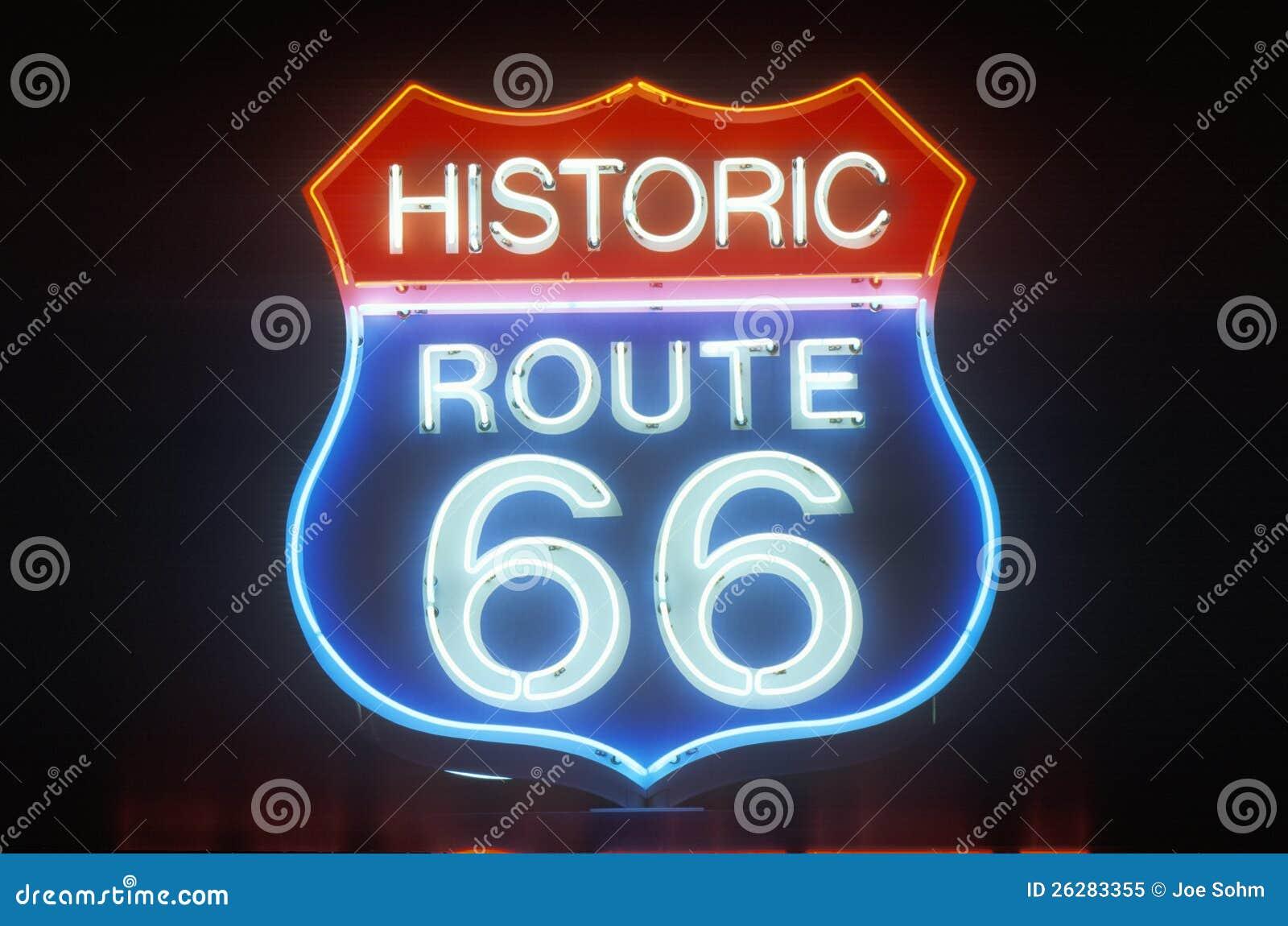 Muestra de neón de la ruta 66 históricos