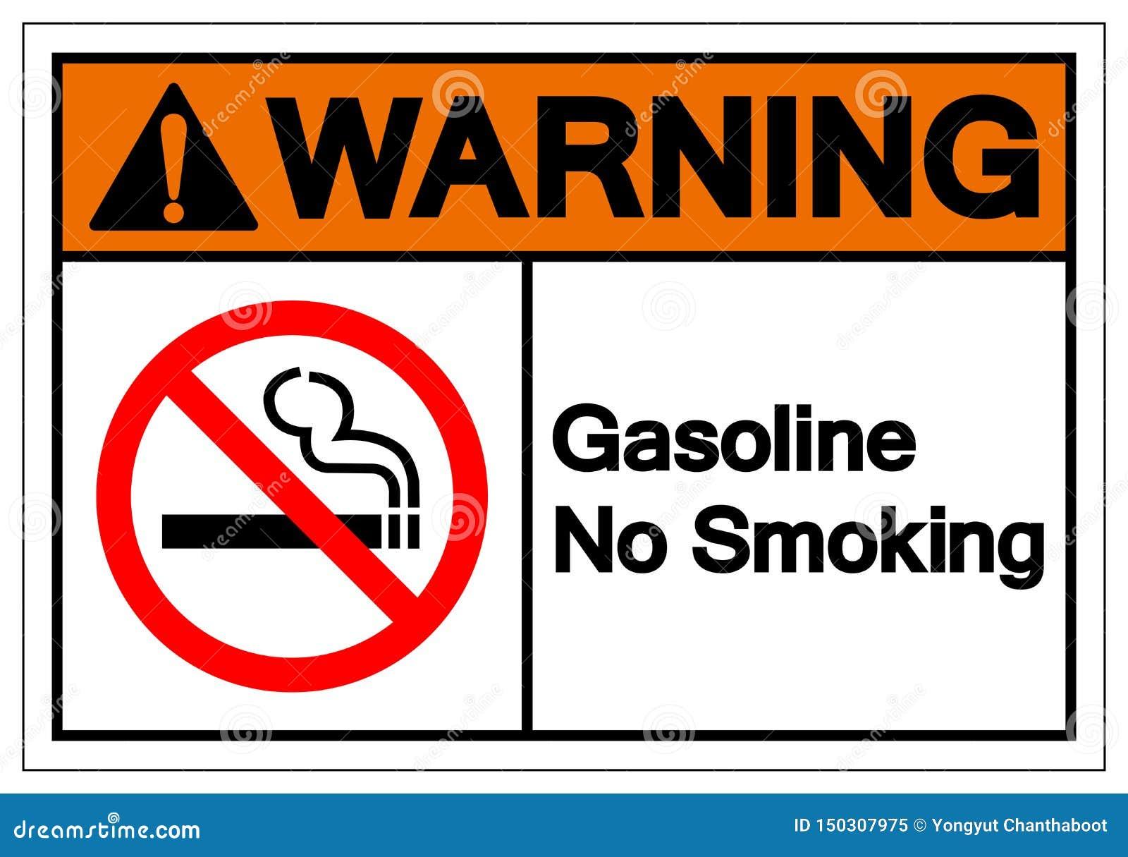 Muestra de no fumadores de cuidado del símbolo de la gasolina, ejemplo del vector, aislante en la etiqueta blanca del fondo EPS10