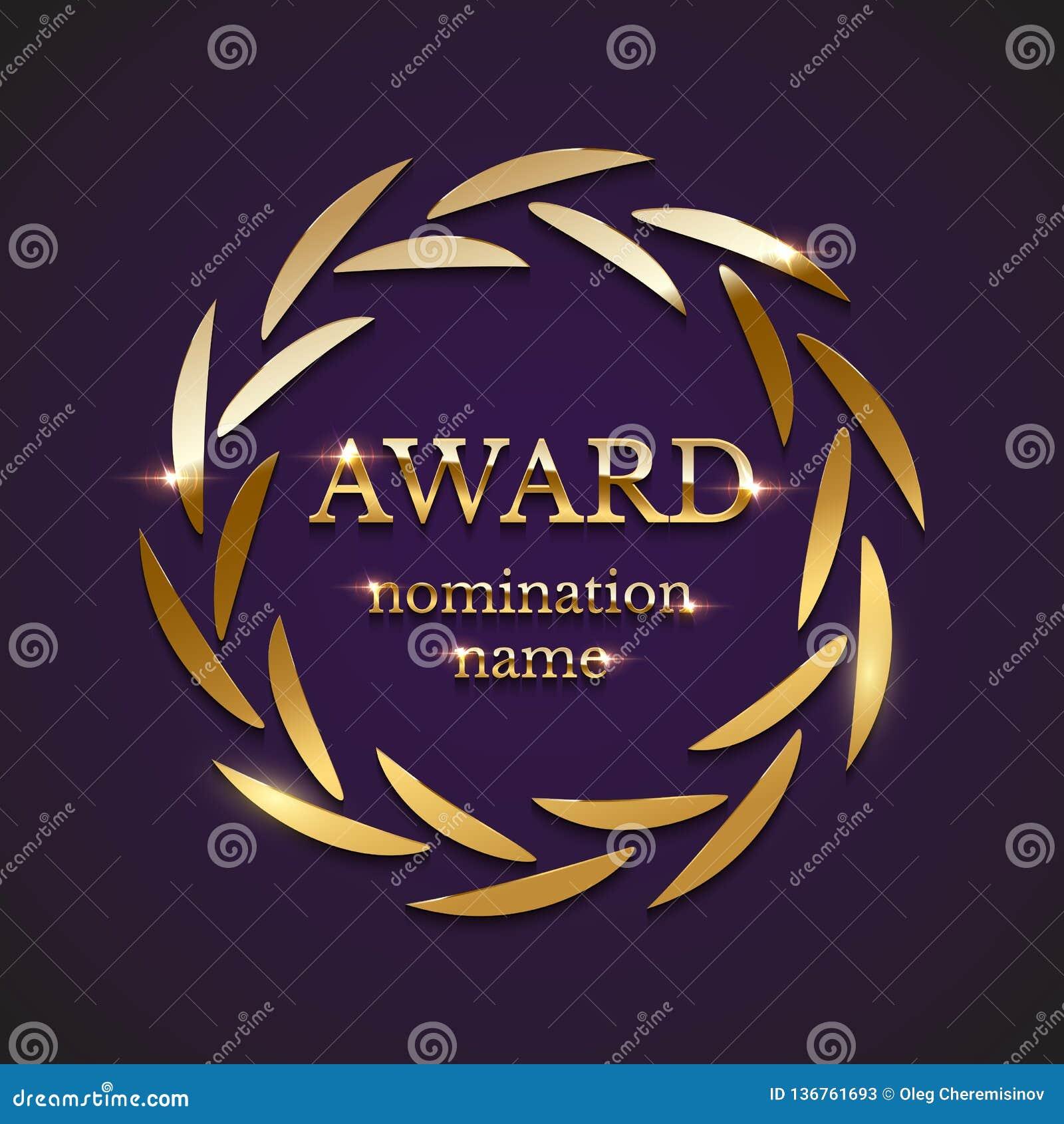 Muestra de oro del premio con la guirnalda del laurel del círculo aislada en fondo púrpura Ilustración del vector
