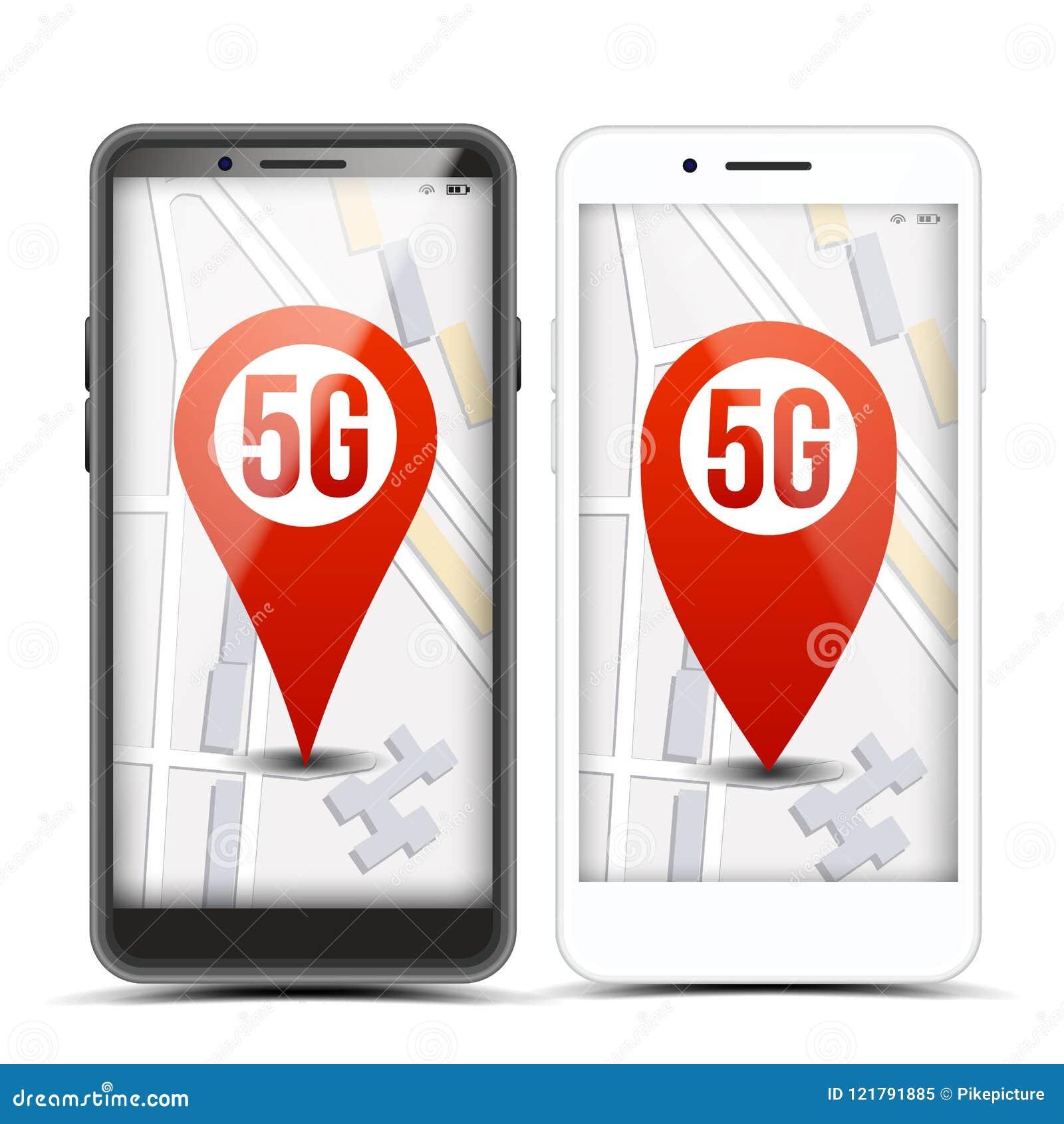 Muestra del indicador 5G en vector móvil de la pantalla Teléfono elegante Icono rojo Conexión de Wi-Fi de Internet velocidad Inte