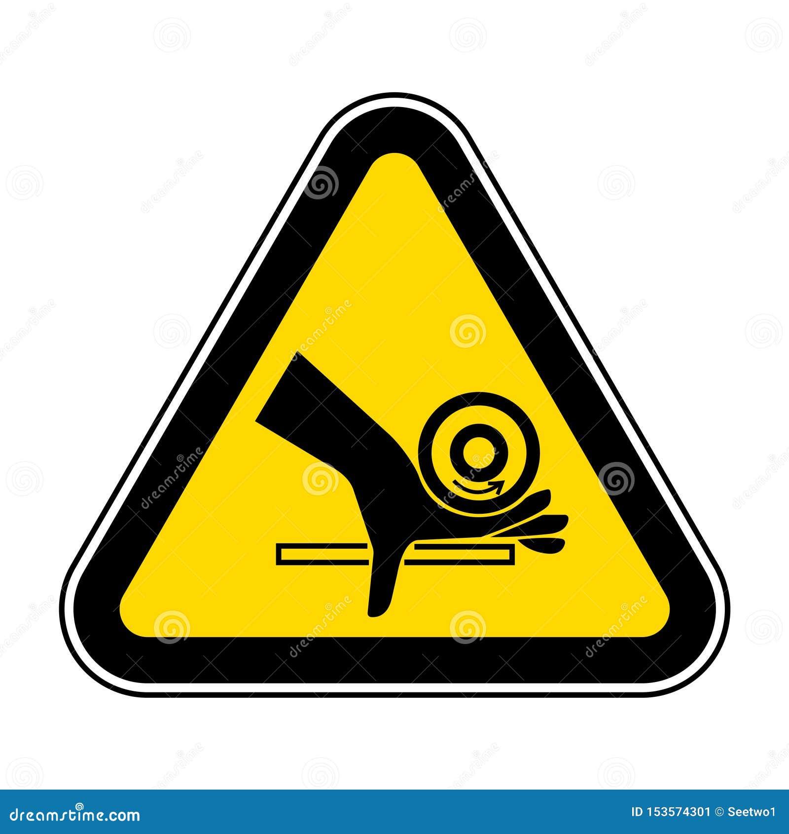 Muestra del s?mbolo del punto de pellizco del rodillo del agolpamiento de la mano, ejemplo del vector, aislante en la etiqueta bl