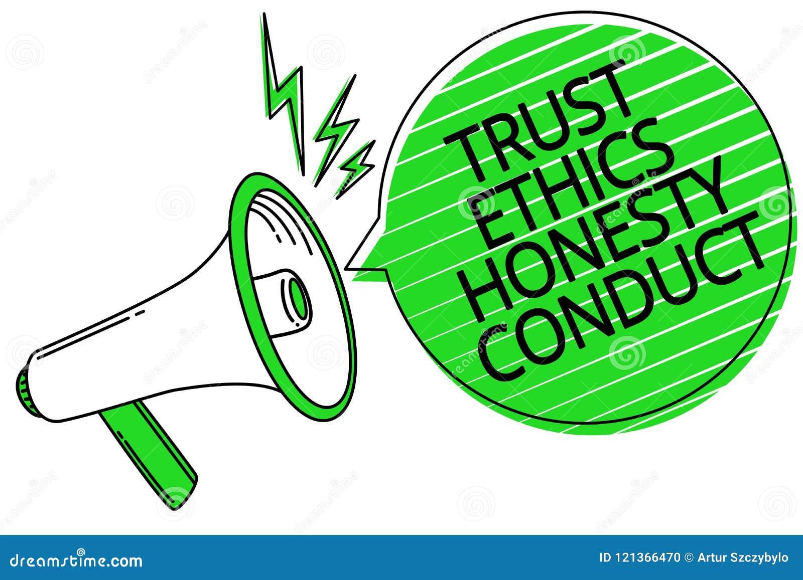 Muestra del texto que muestra conducta de la honradez de los éticas de la confianza La foto conceptual implica el altavoz positiv