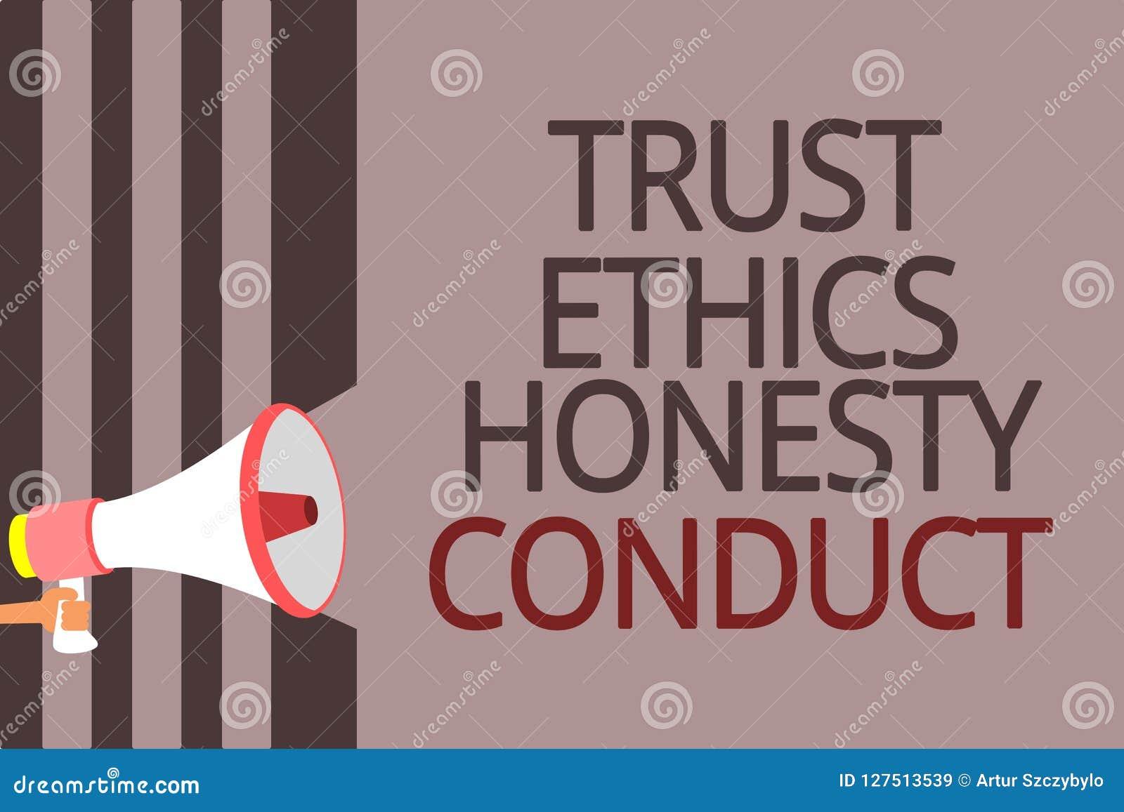 Muestra del texto que muestra conducta de la honradez de los éticas de la confianza La foto conceptual implica el megáfono positi