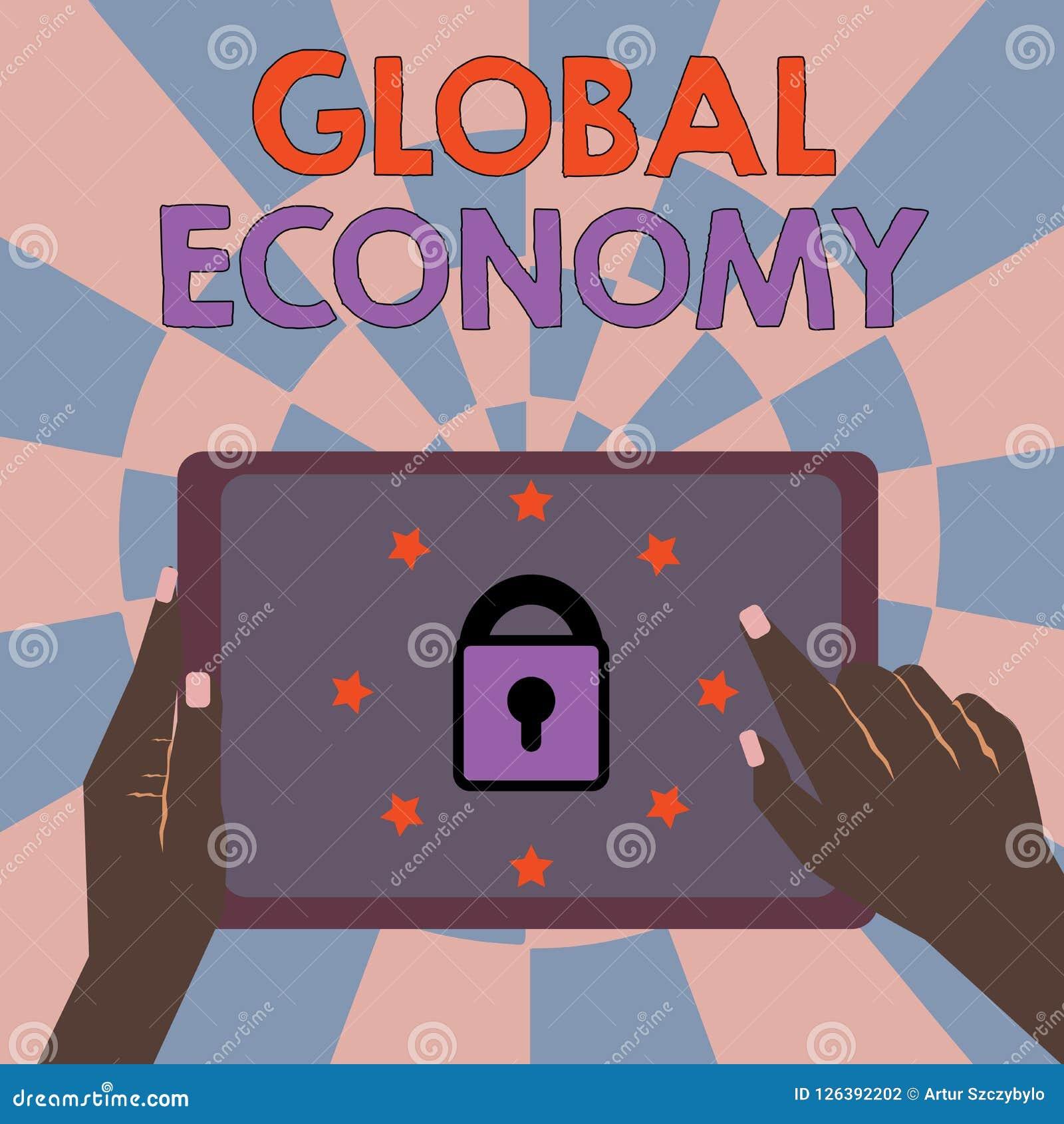Muestra del texto que muestra economía global Sistema conceptual de la foto de capitalismo de la industria y del comercio en todo