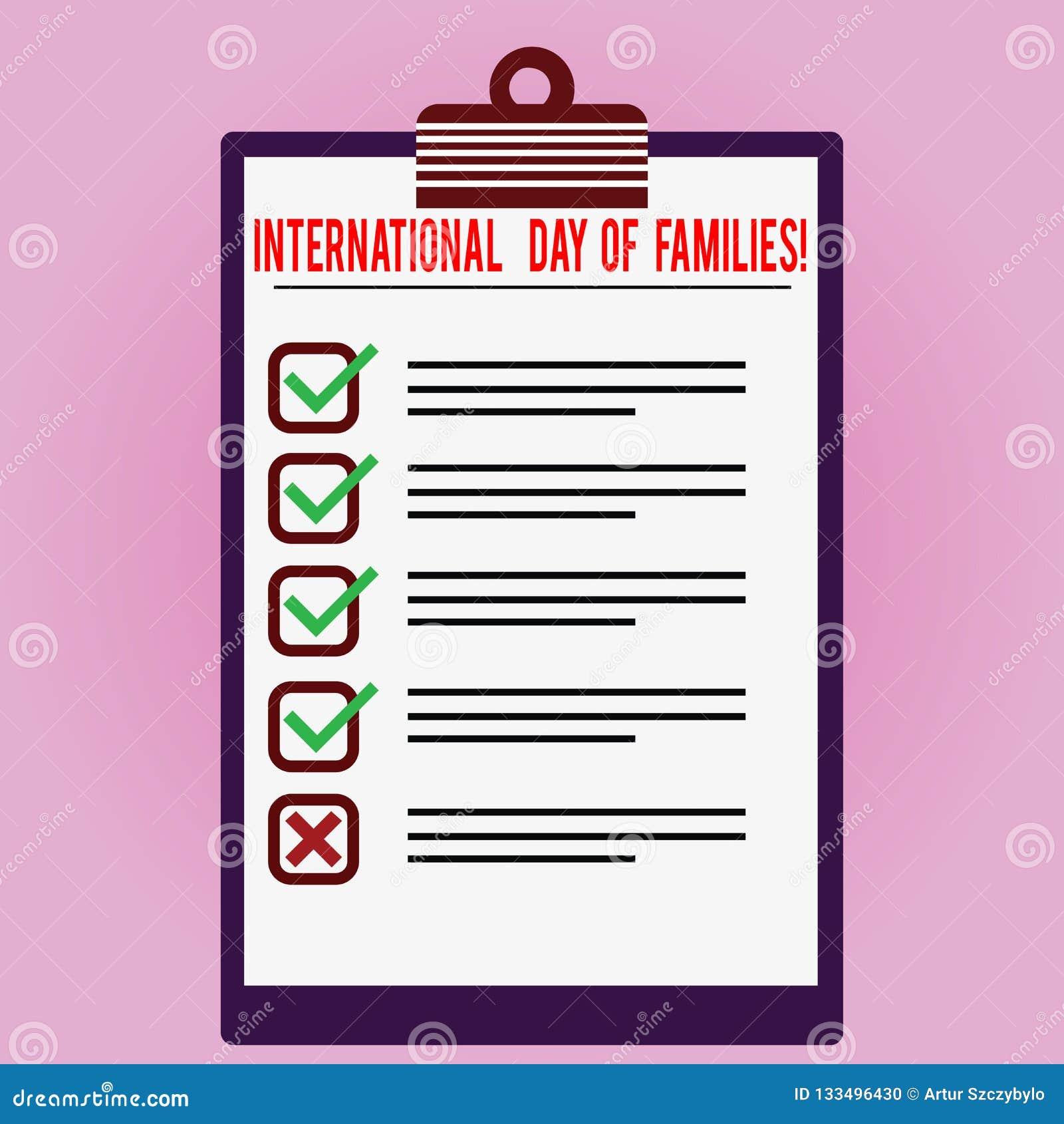 Muestra del texto que muestra el día internacional de familias Color alineado celebración conceptual de la unidad del tiempo de l