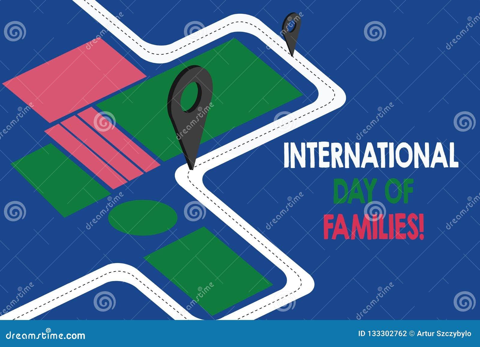 Muestra del texto que muestra el día internacional de familias Mapa de camino conceptual de la celebración de la unidad del tiemp